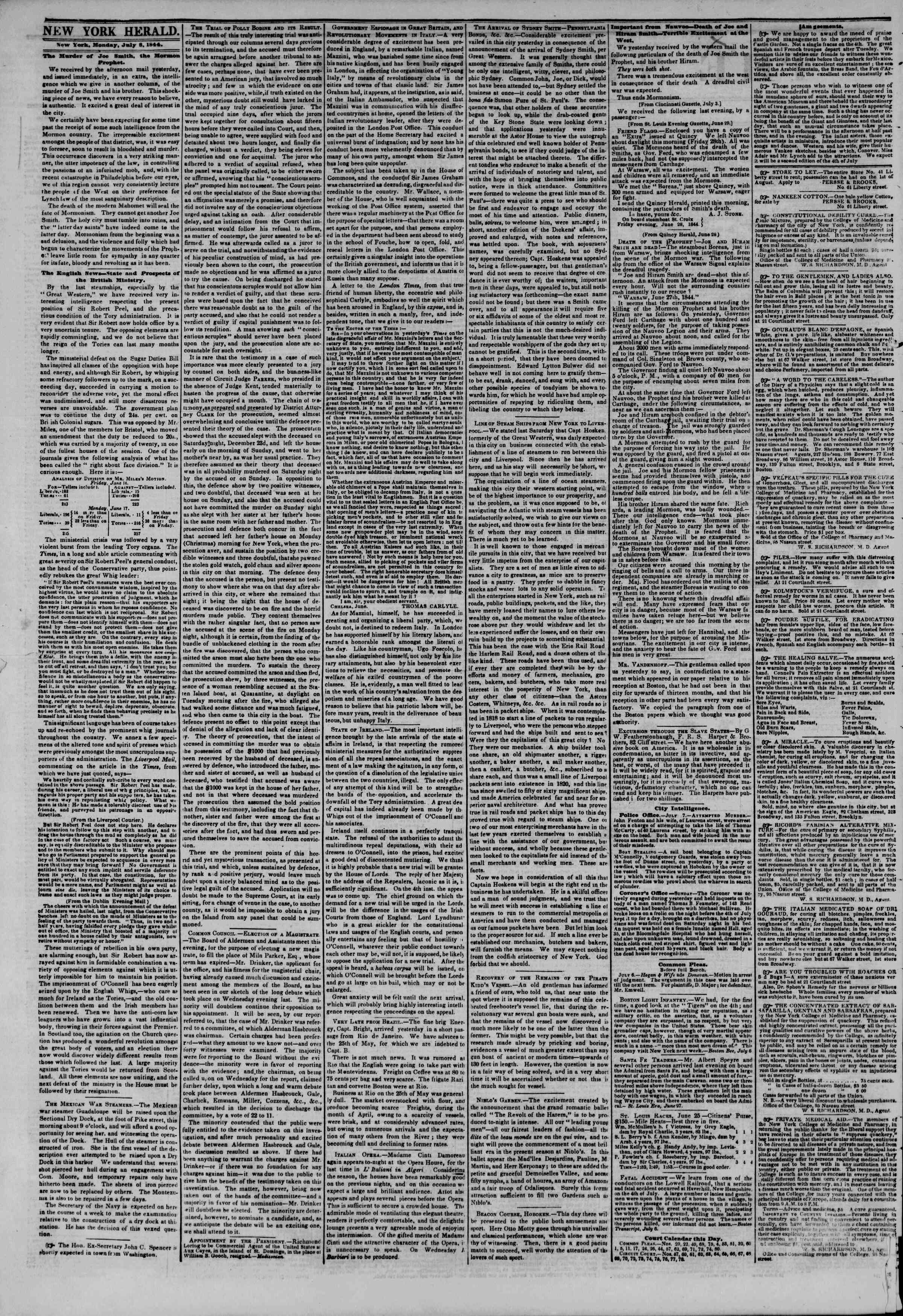 Newspaper of The New York Herald dated July 8, 1844 Page 2