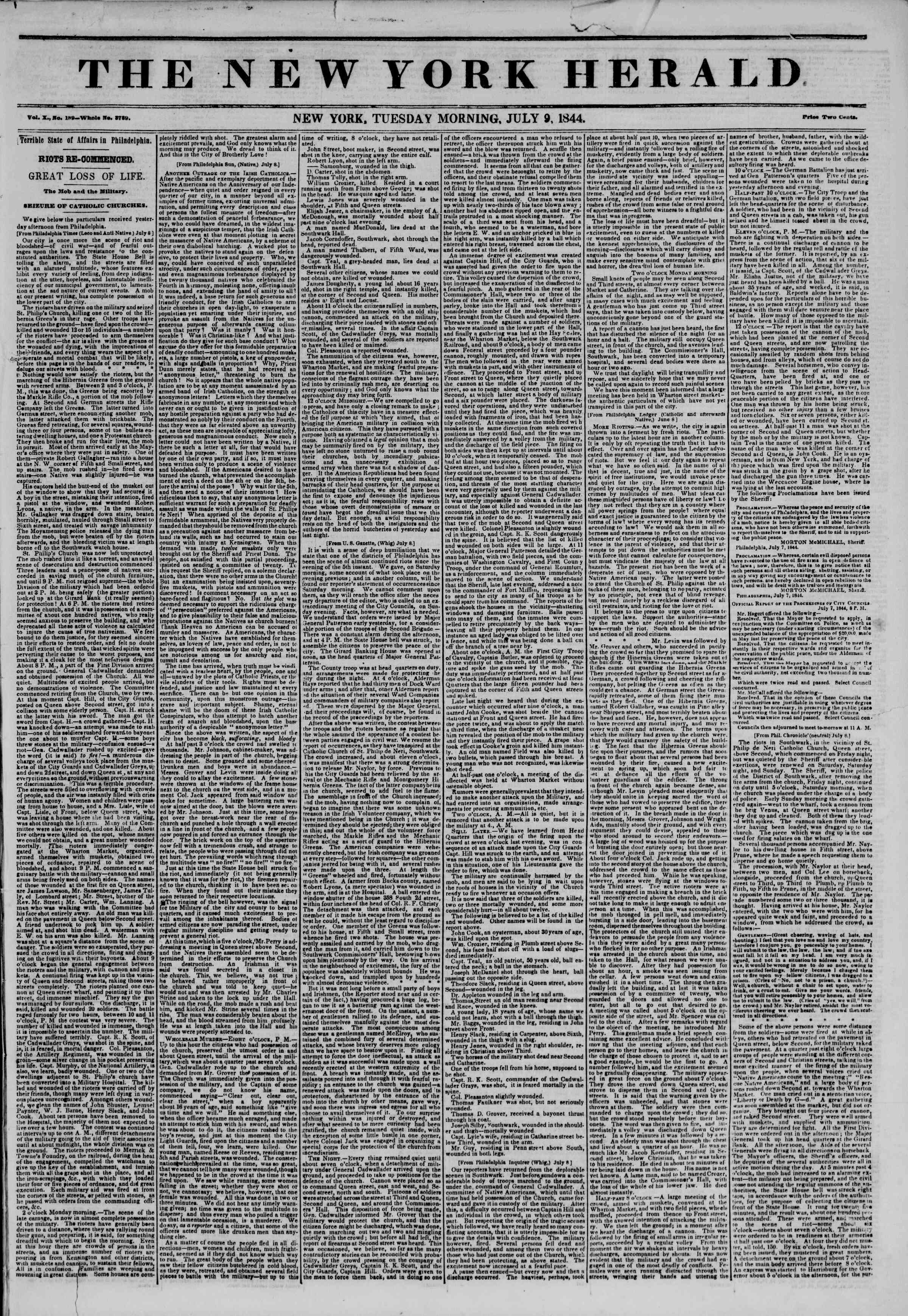 Newspaper of The New York Herald dated July 9, 1844 Page 1