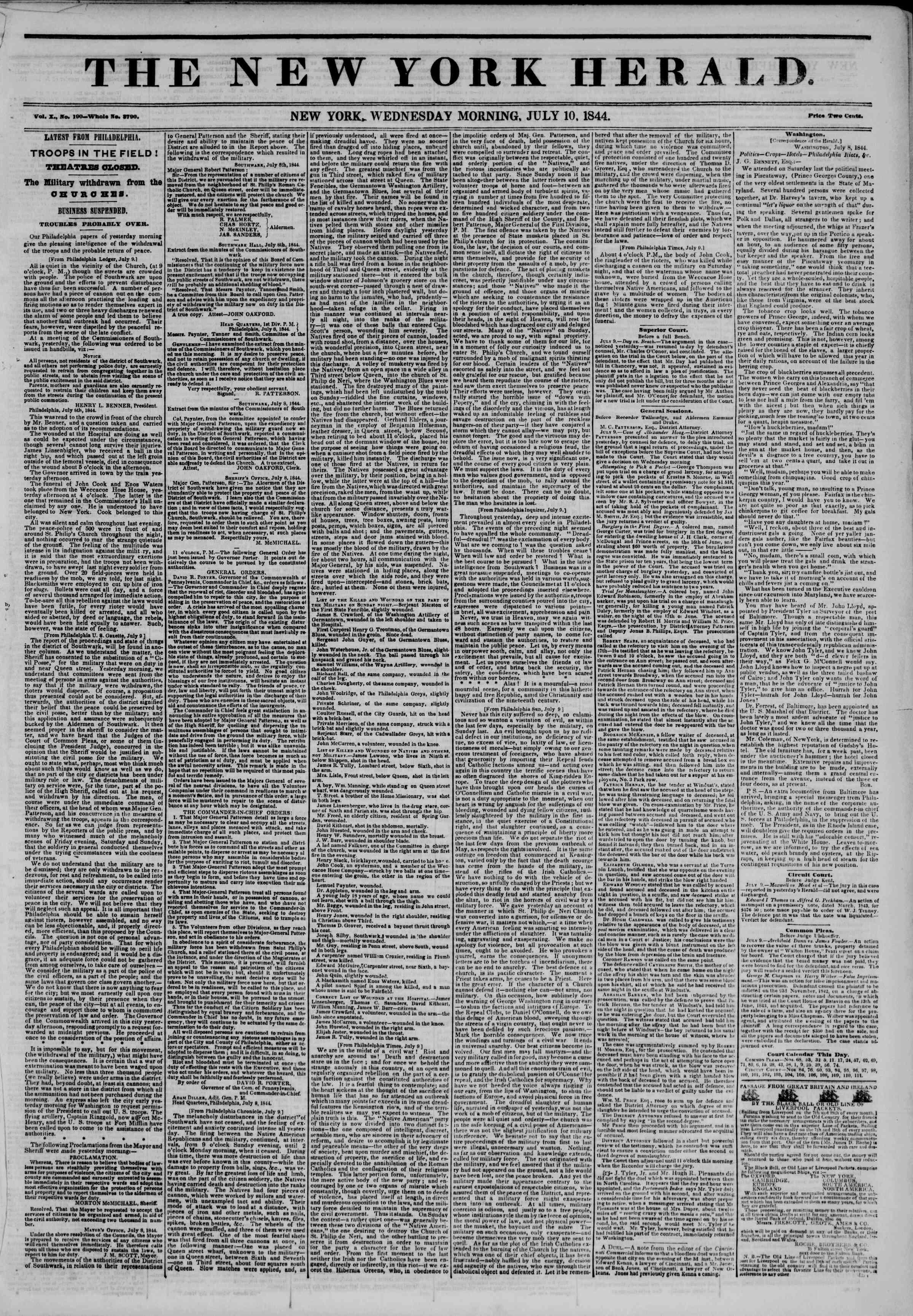 July 10, 1844 Tarihli The New York Herald Gazetesi Sayfa 1