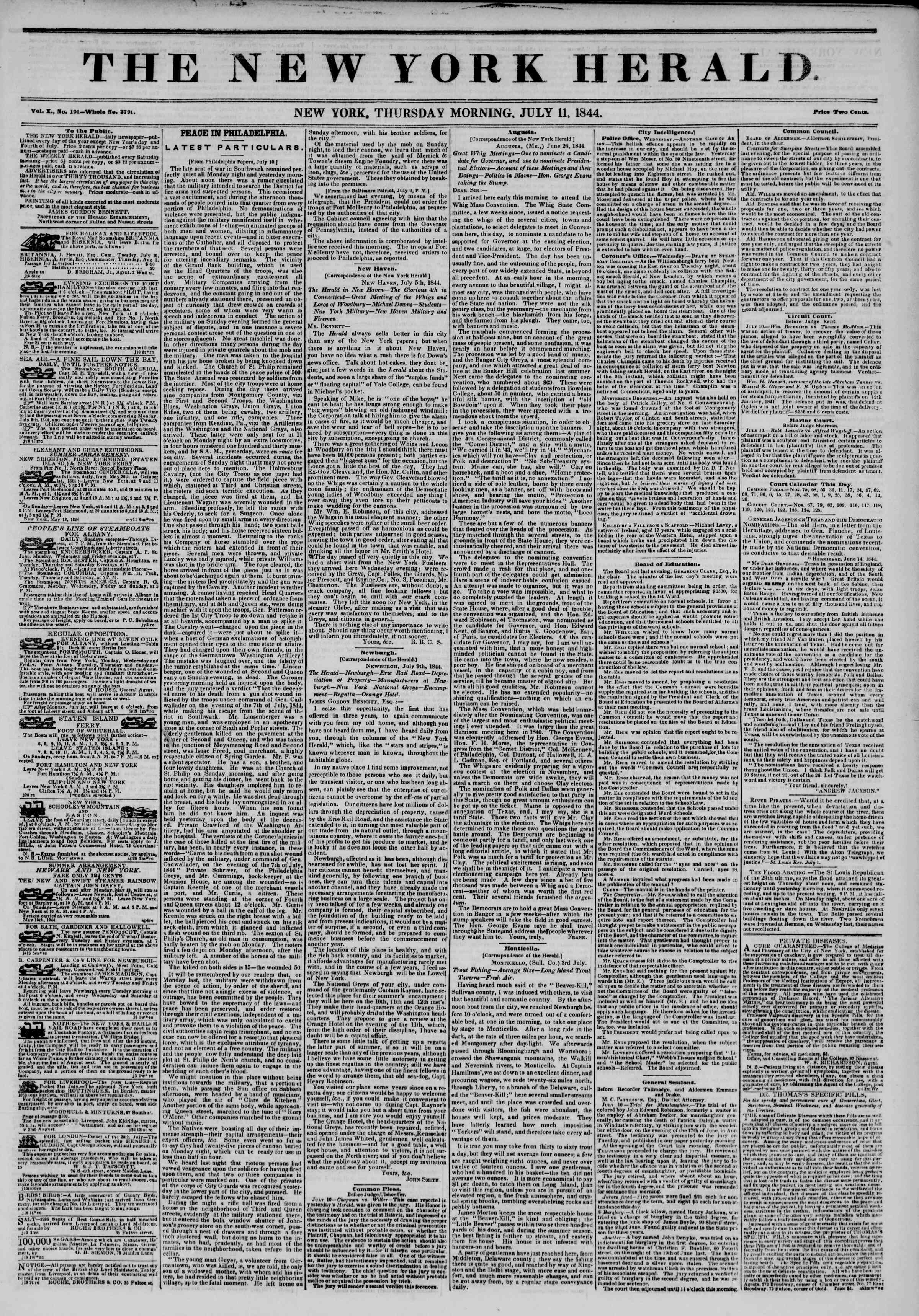 Newspaper of The New York Herald dated July 11, 1844 Page 1