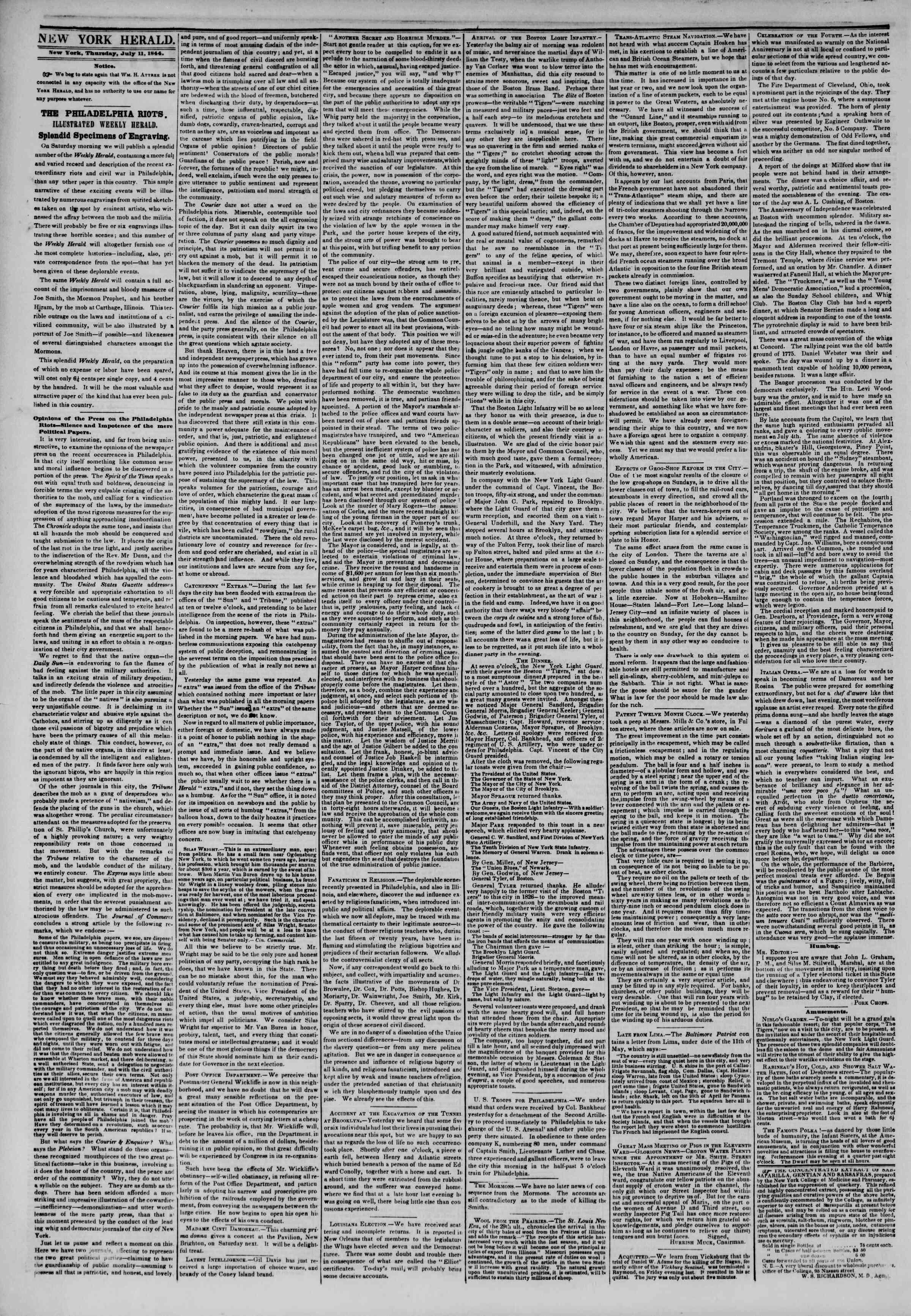 July 11, 1844 Tarihli The New York Herald Gazetesi Sayfa 2