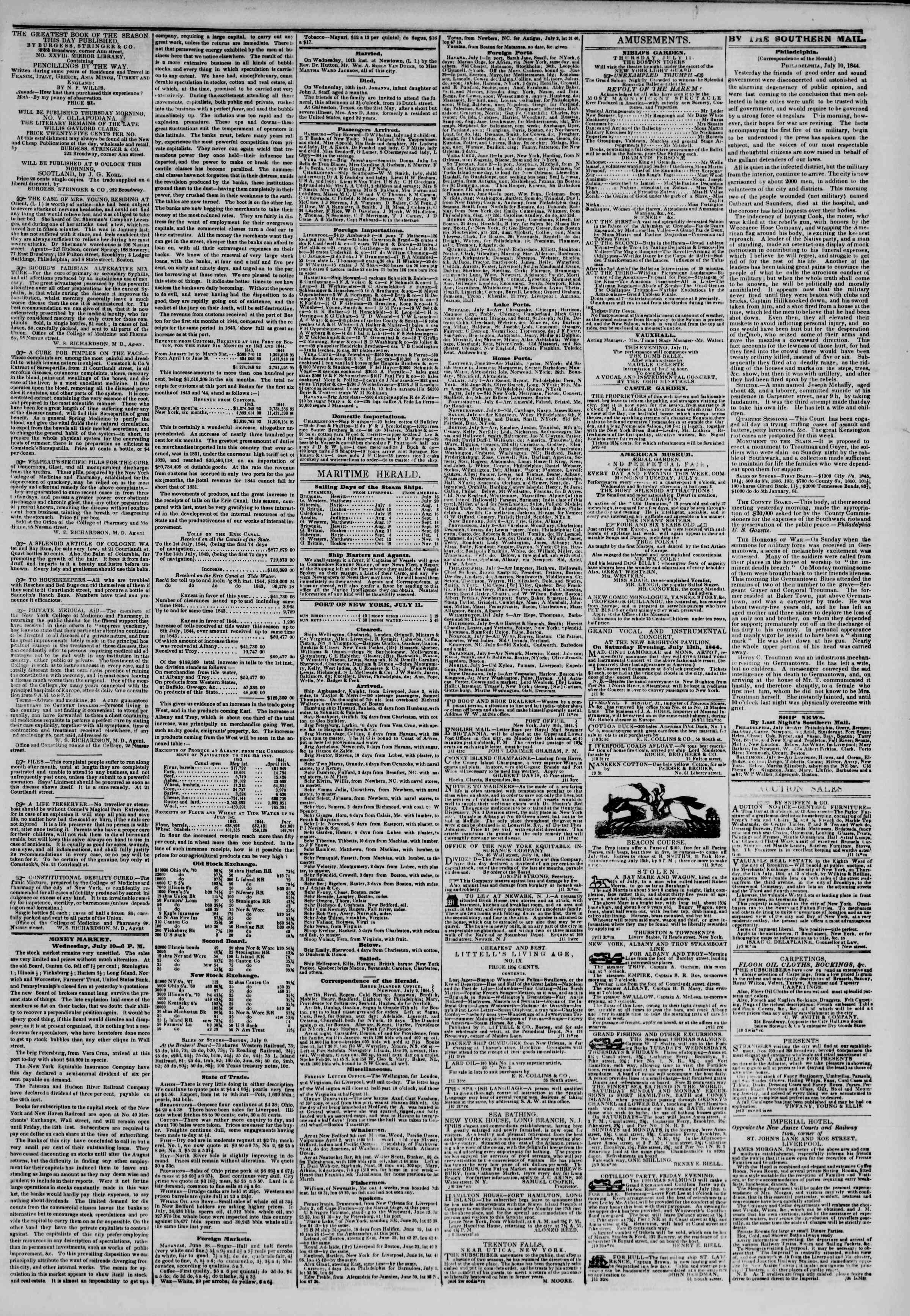 Newspaper of The New York Herald dated July 11, 1844 Page 3