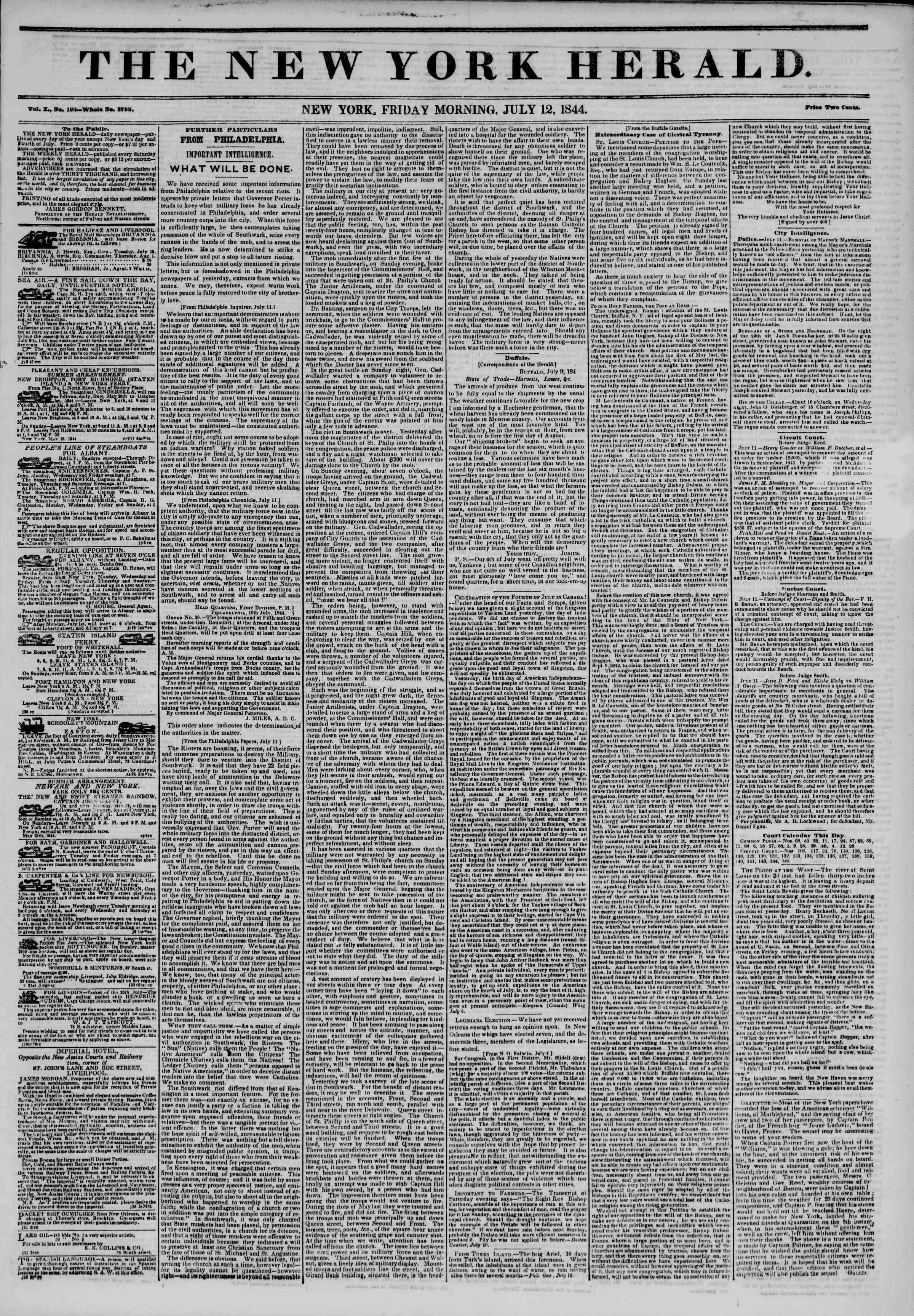 July 12, 1844 Tarihli The New York Herald Gazetesi Sayfa 1