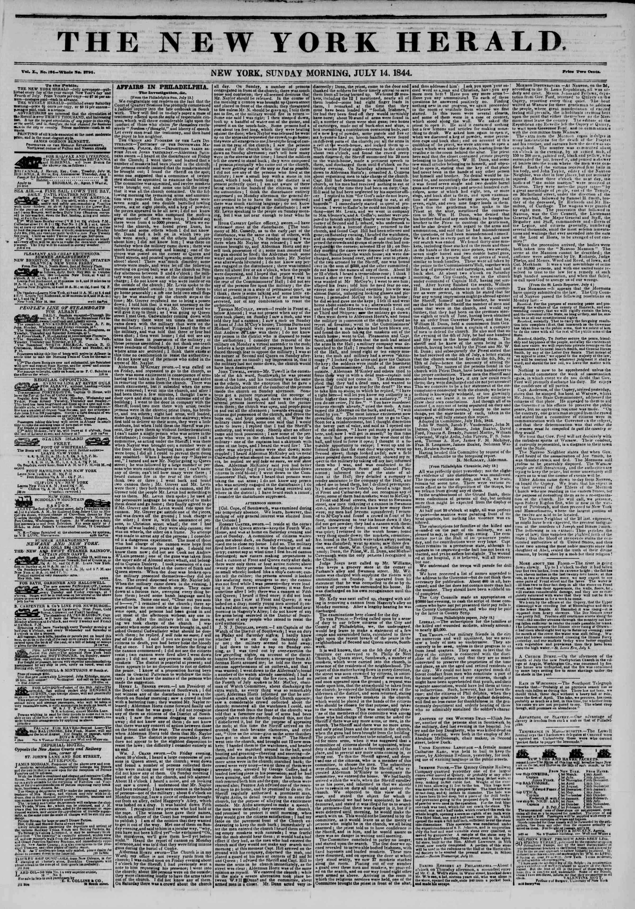 Newspaper of The New York Herald dated July 14, 1844 Page 1