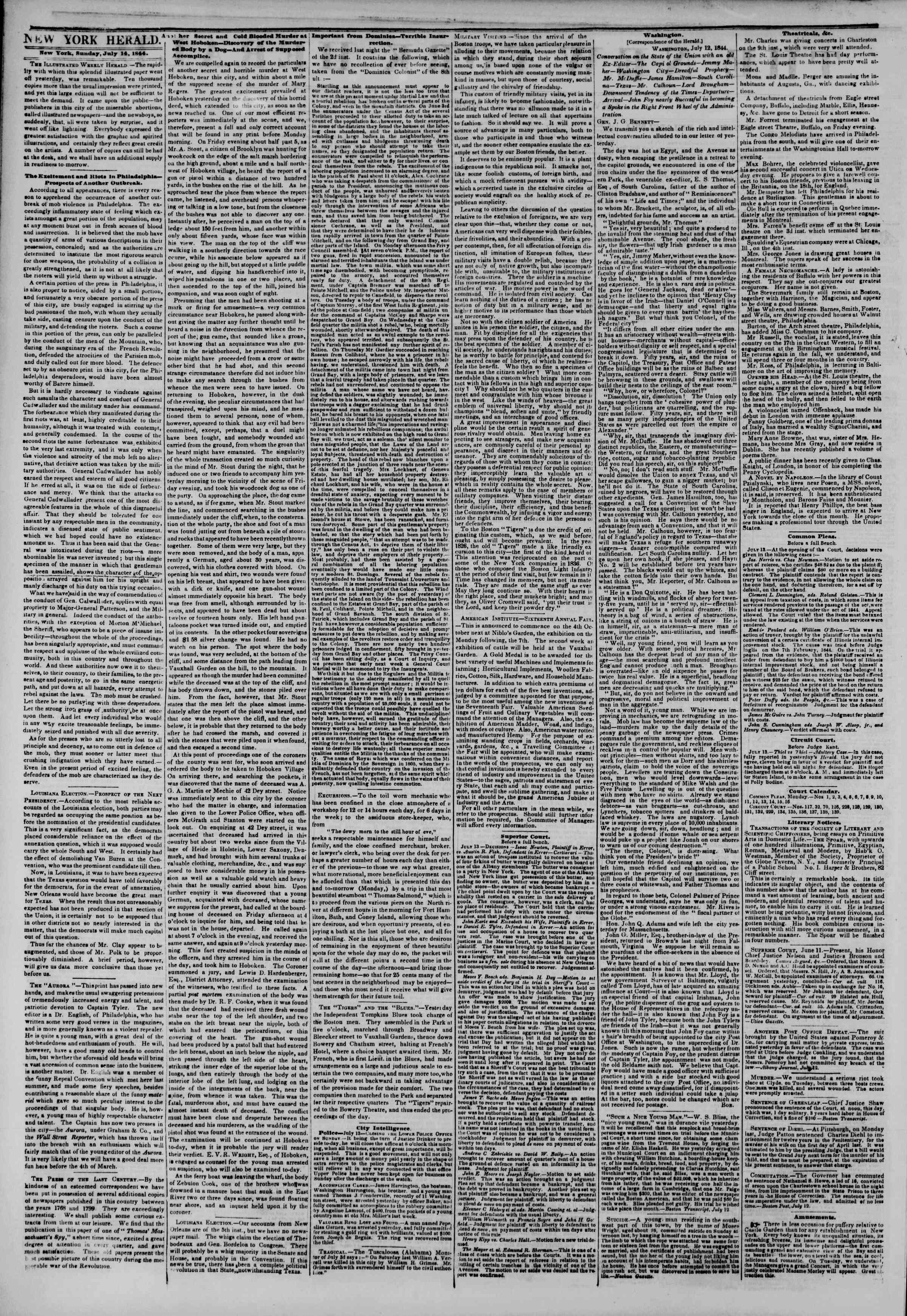 Newspaper of The New York Herald dated July 14, 1844 Page 2