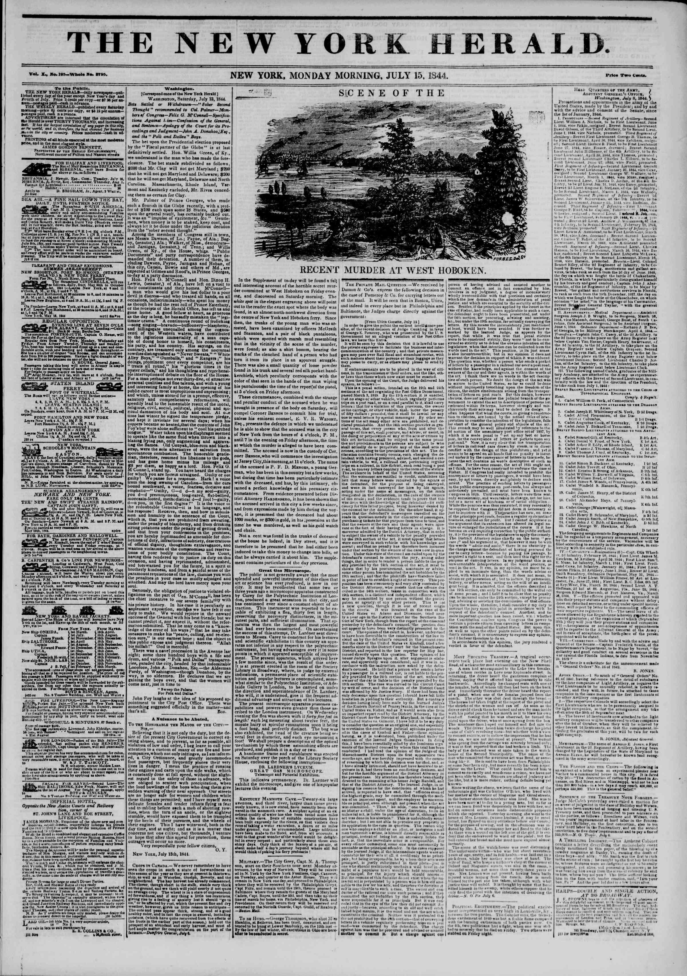 July 15, 1844 Tarihli The New York Herald Gazetesi Sayfa 1