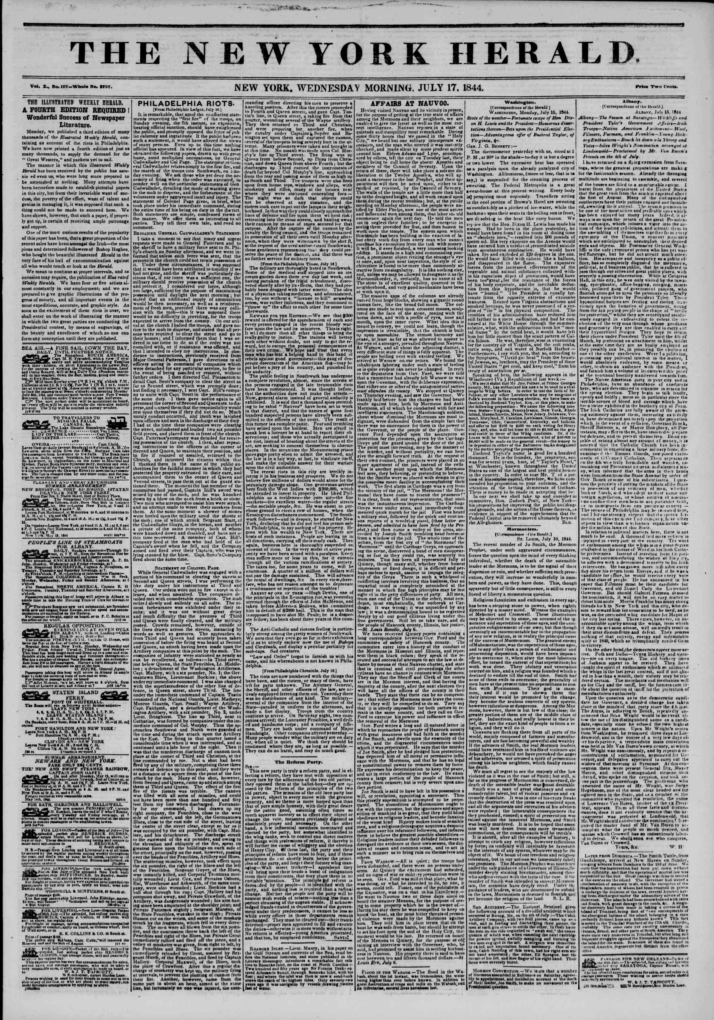 Newspaper of The New York Herald dated July 17, 1844 Page 1