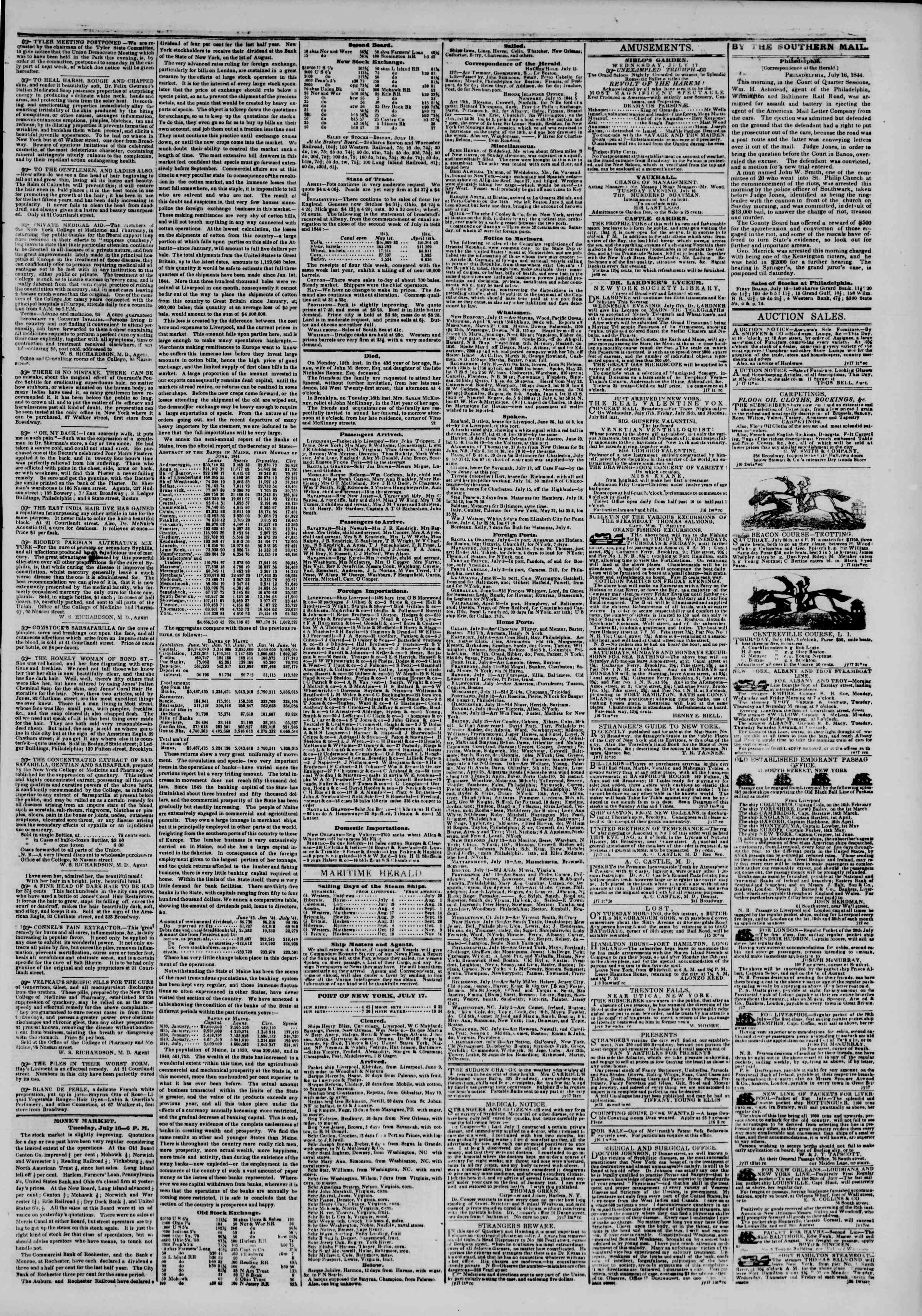 Newspaper of The New York Herald dated July 17, 1844 Page 3