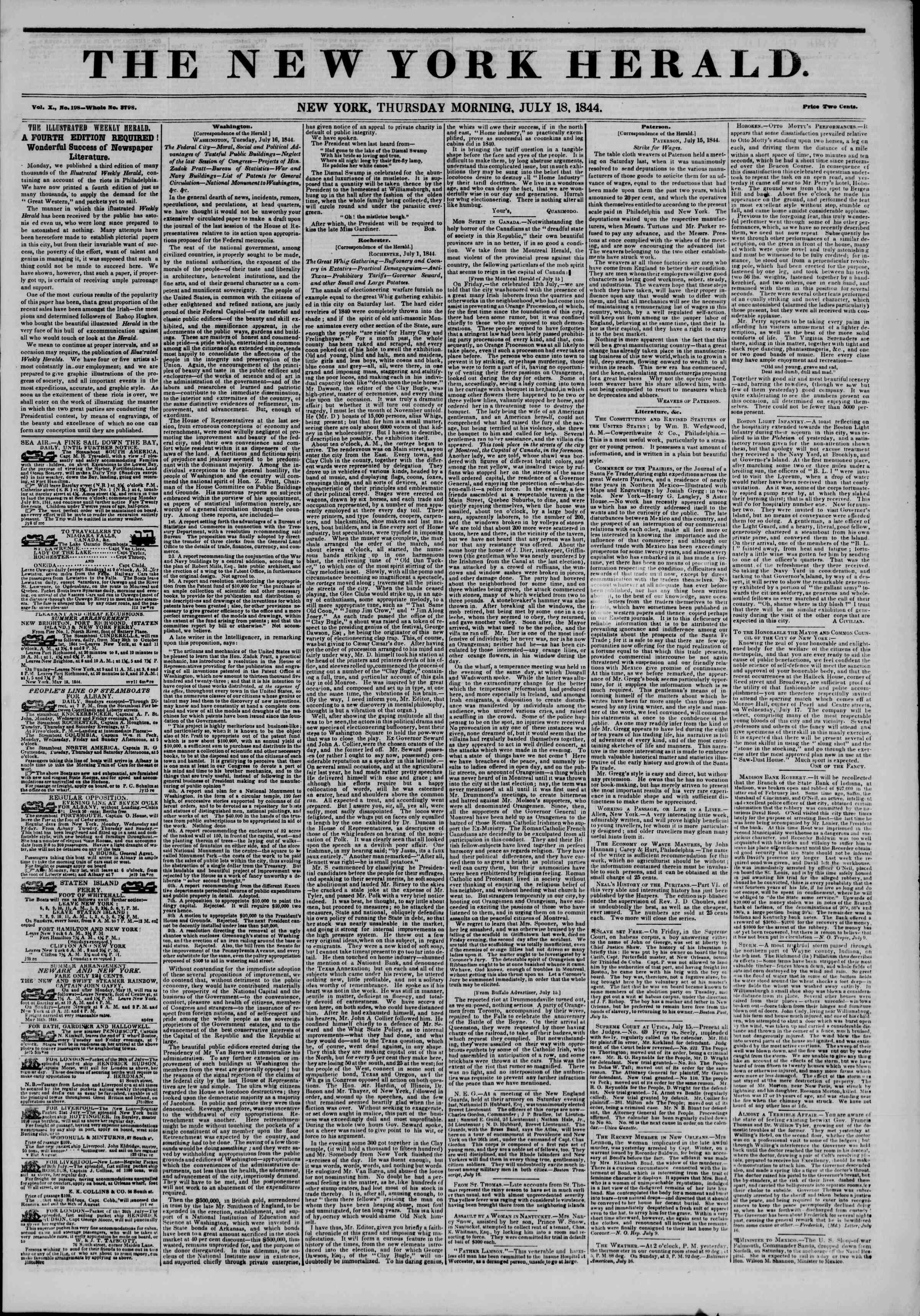 July 18, 1844 Tarihli The New York Herald Gazetesi Sayfa 1