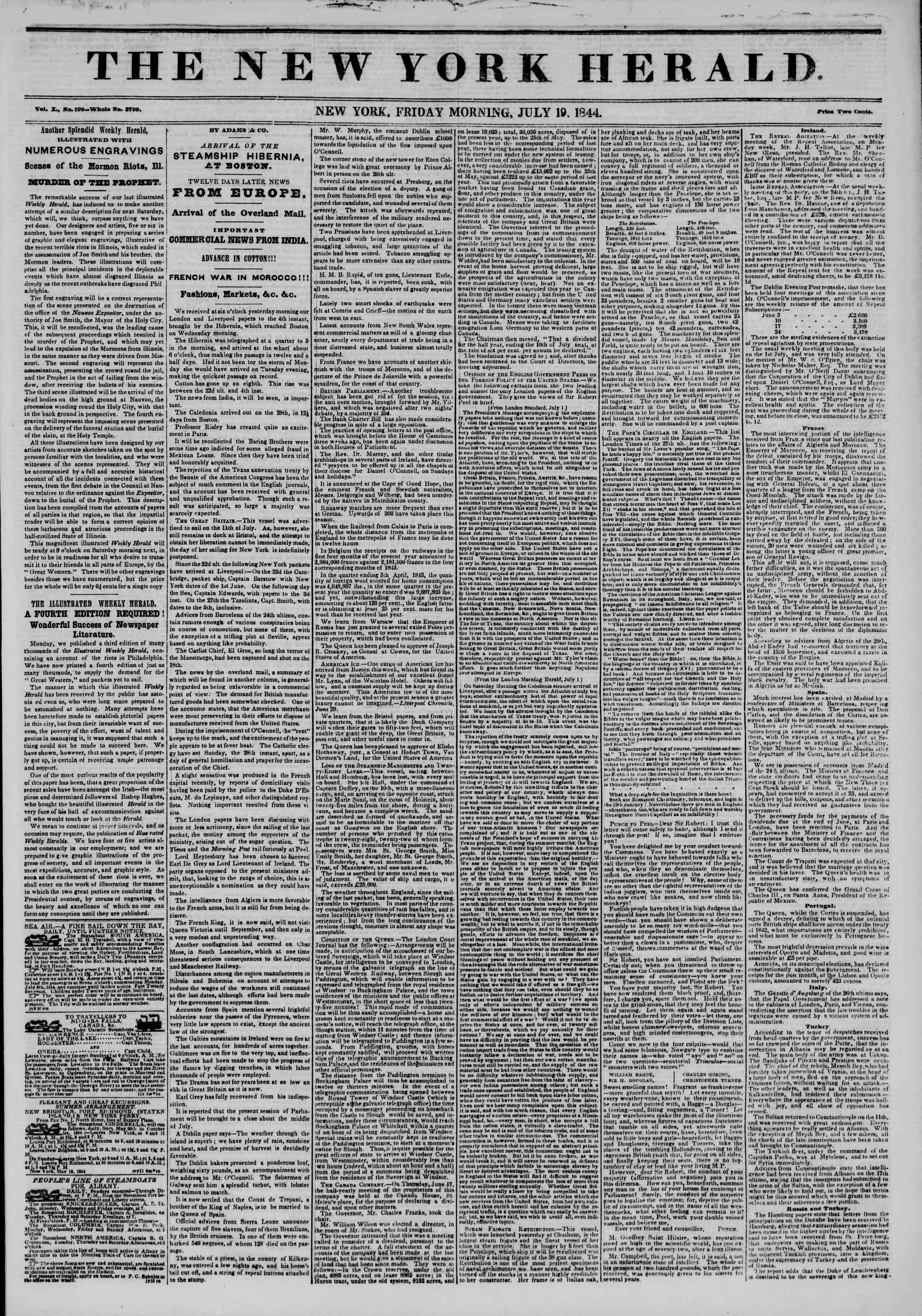 Newspaper of The New York Herald dated July 19, 1844 Page 1