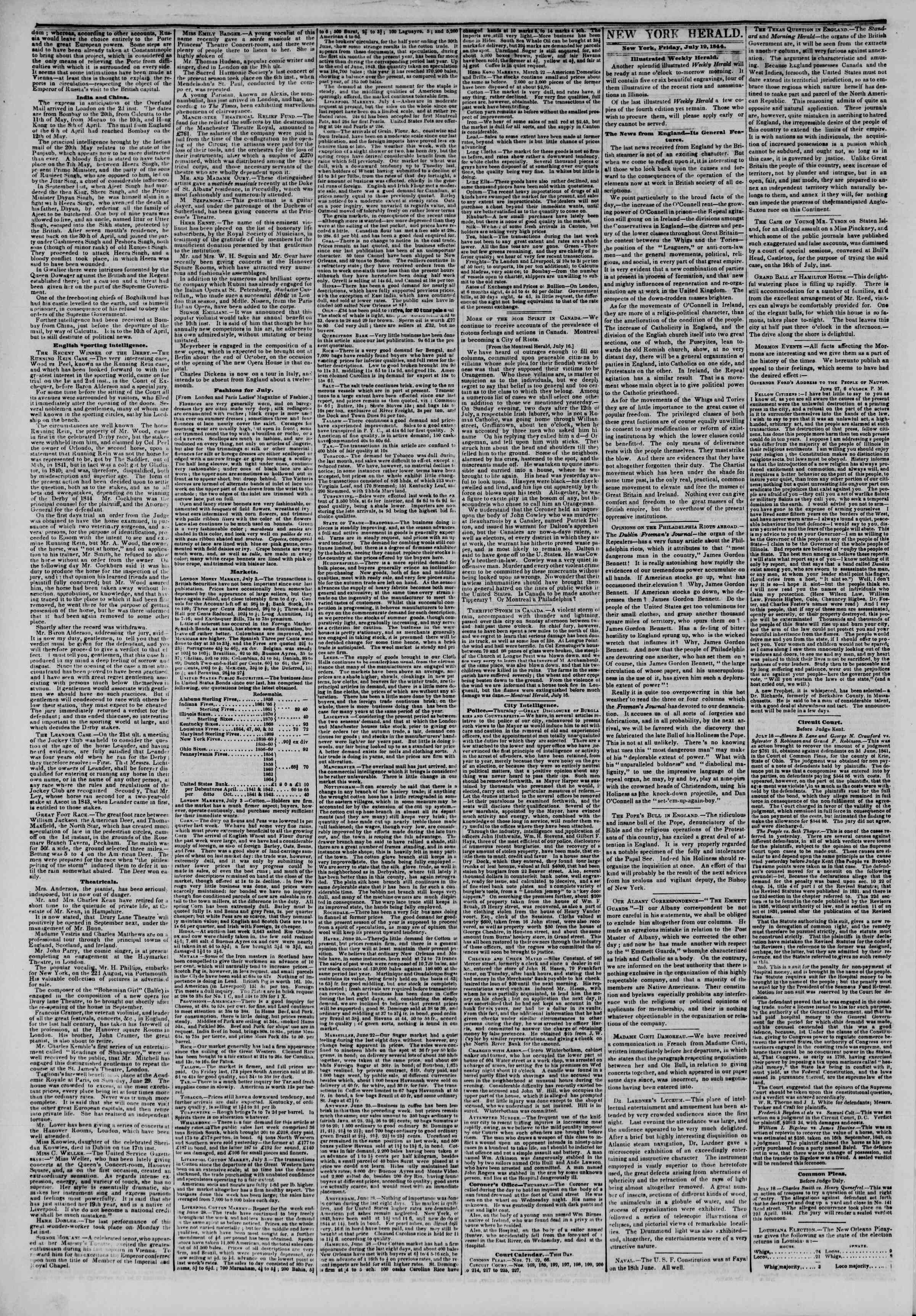July 19, 1844 Tarihli The New York Herald Gazetesi Sayfa 2
