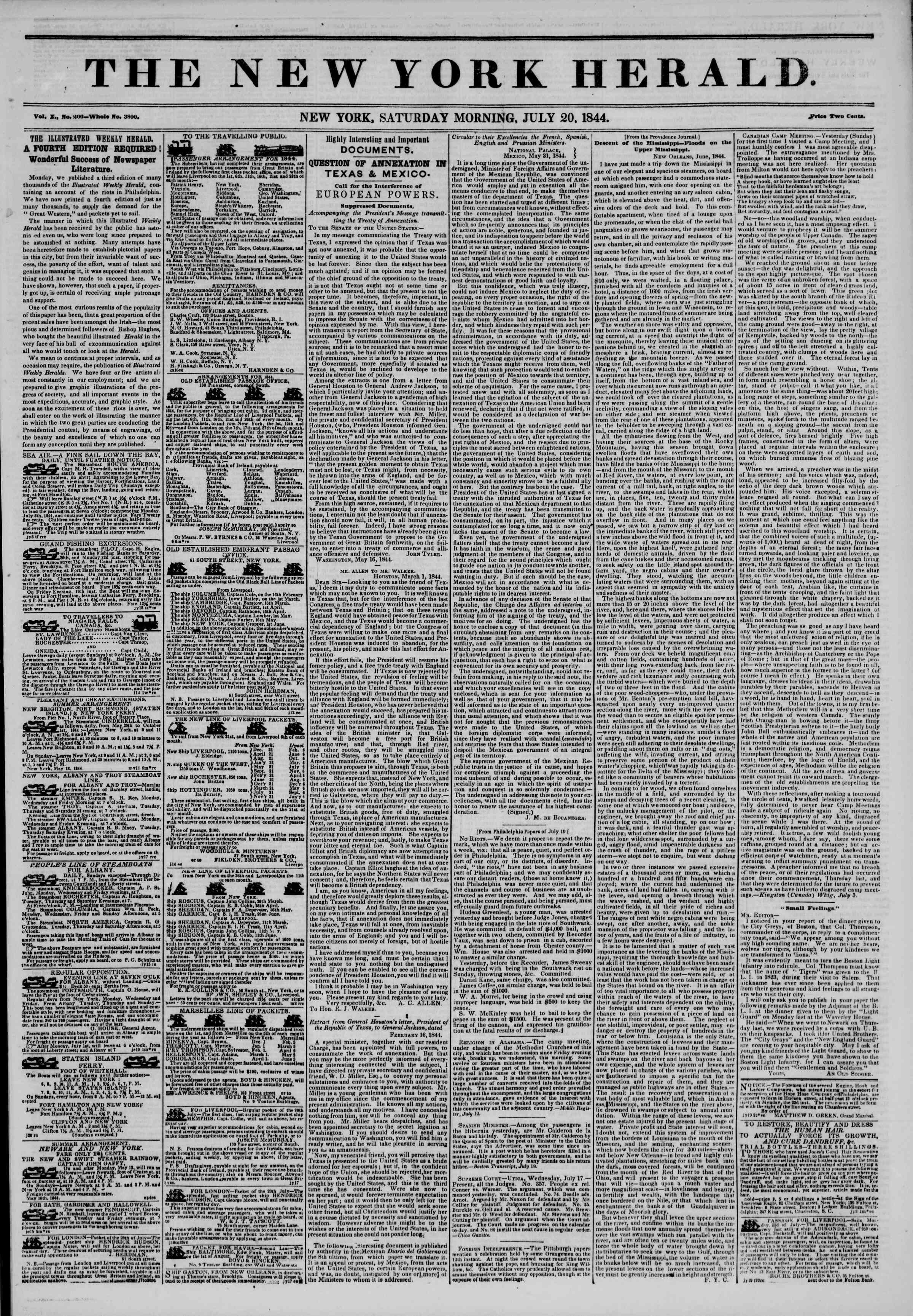 Newspaper of The New York Herald dated July 20, 1844 Page 1