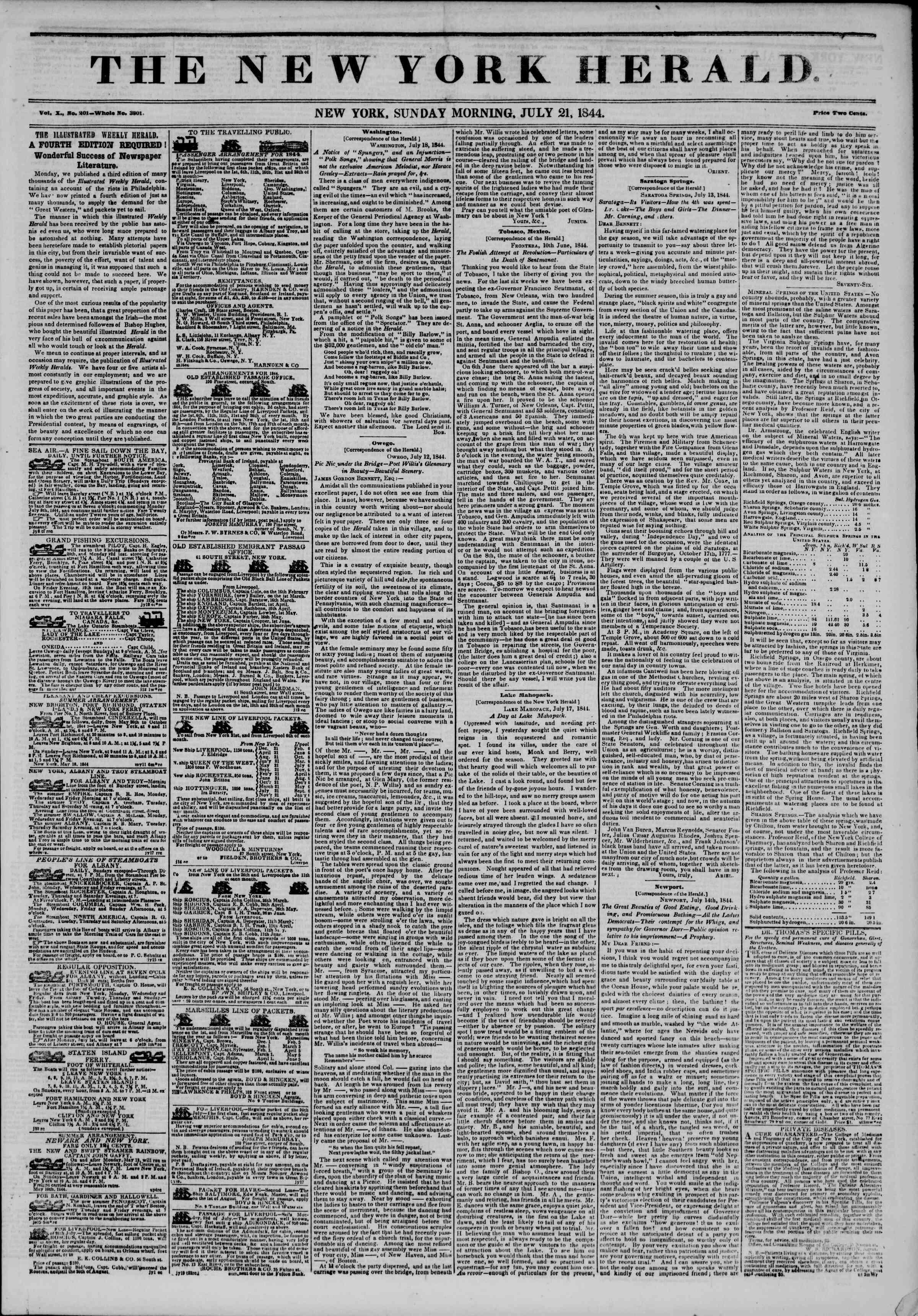 July 21, 1844 Tarihli The New York Herald Gazetesi Sayfa 1