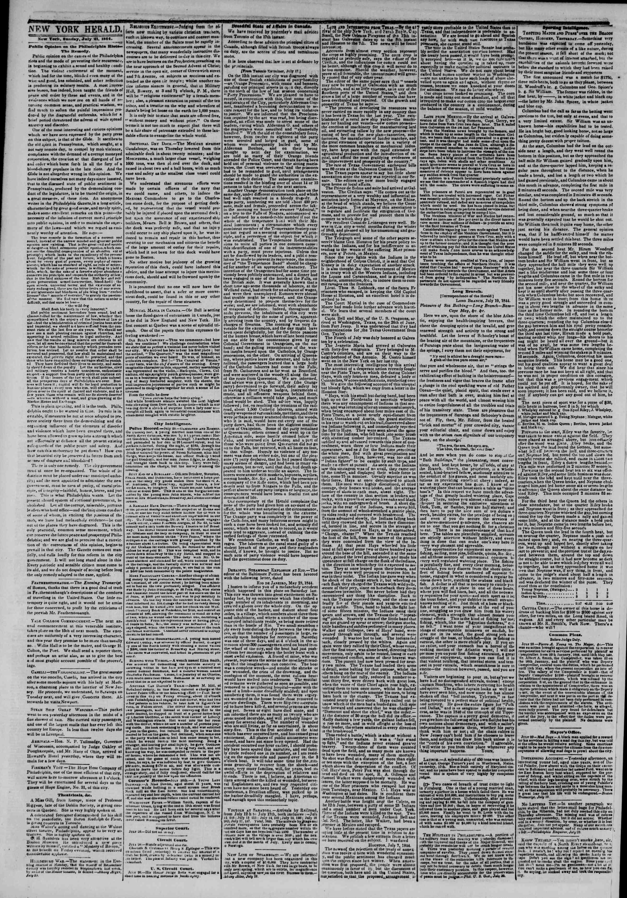 21 Temmuz 1844 Tarihli The New York Herald Gazetesi Sayfa 2