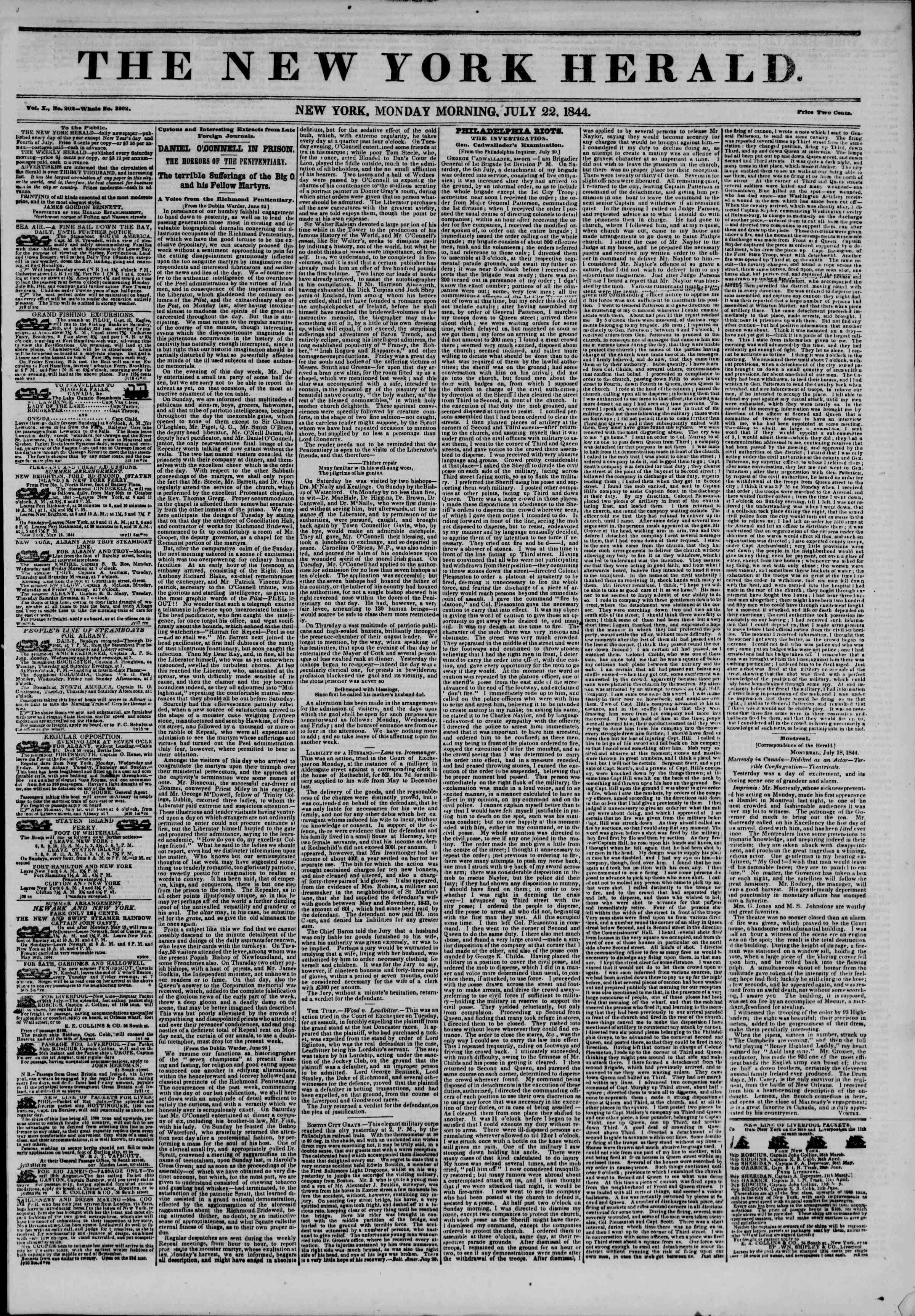 July 22, 1844 Tarihli The New York Herald Gazetesi Sayfa 1