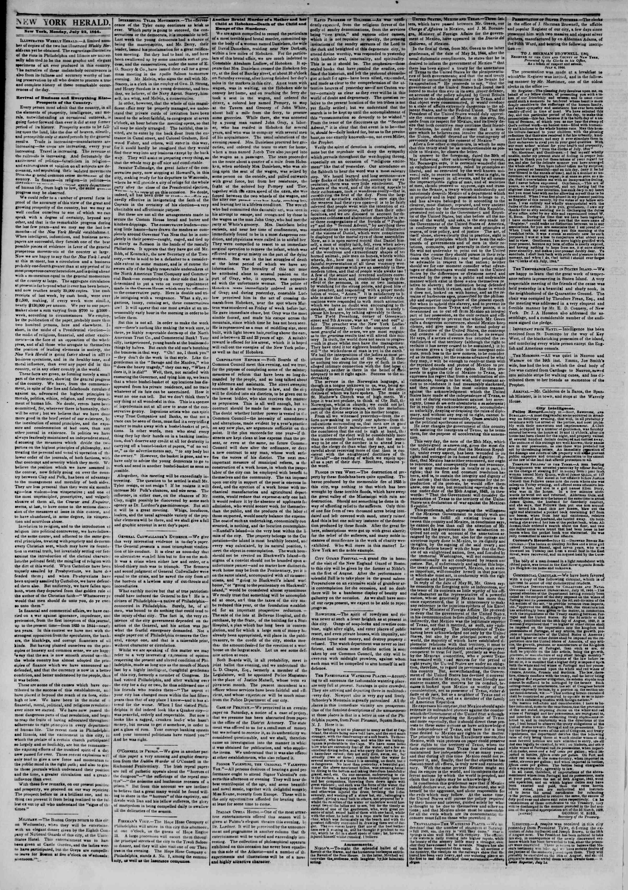 July 22, 1844 Tarihli The New York Herald Gazetesi Sayfa 2