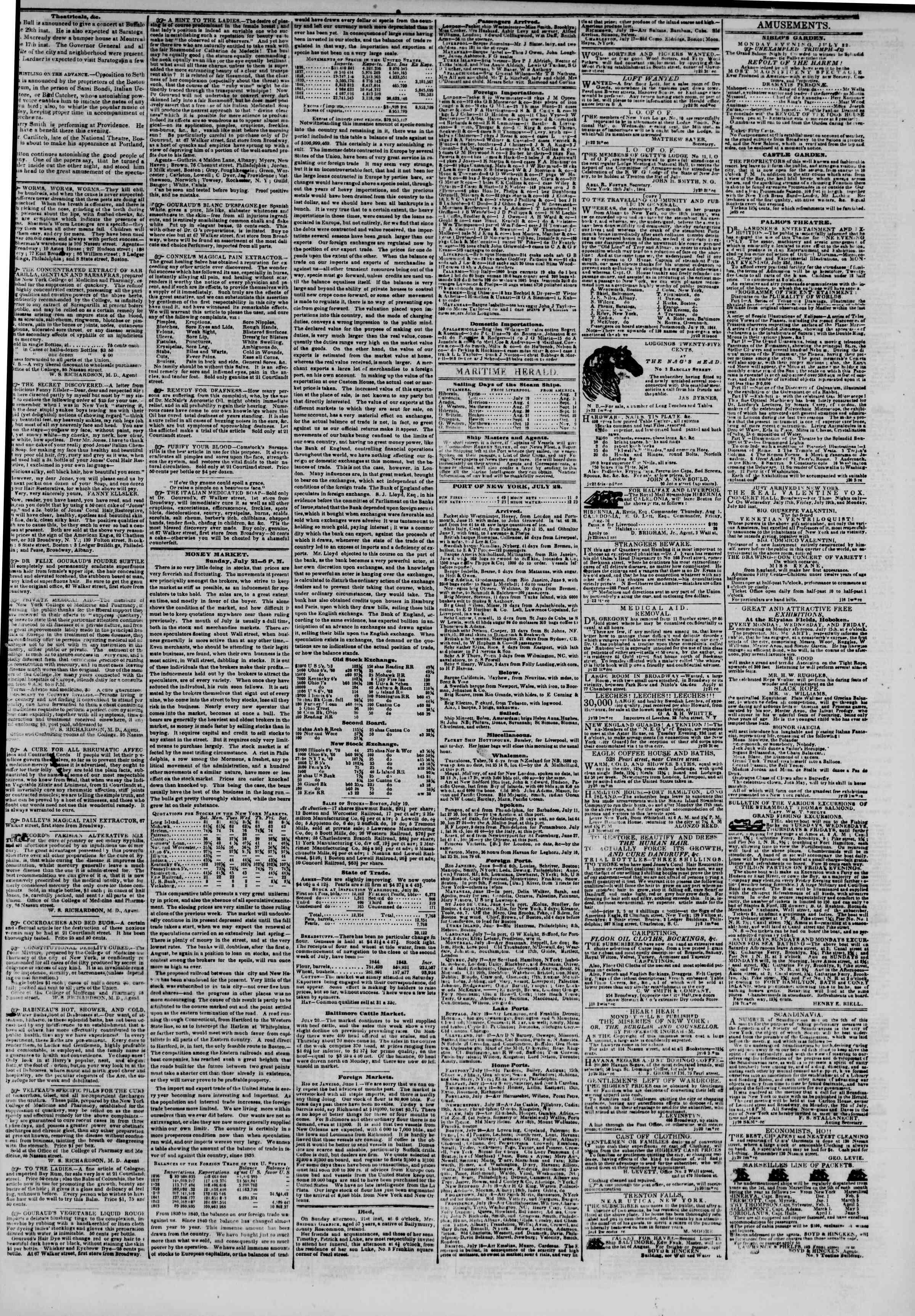 July 22, 1844 Tarihli The New York Herald Gazetesi Sayfa 3