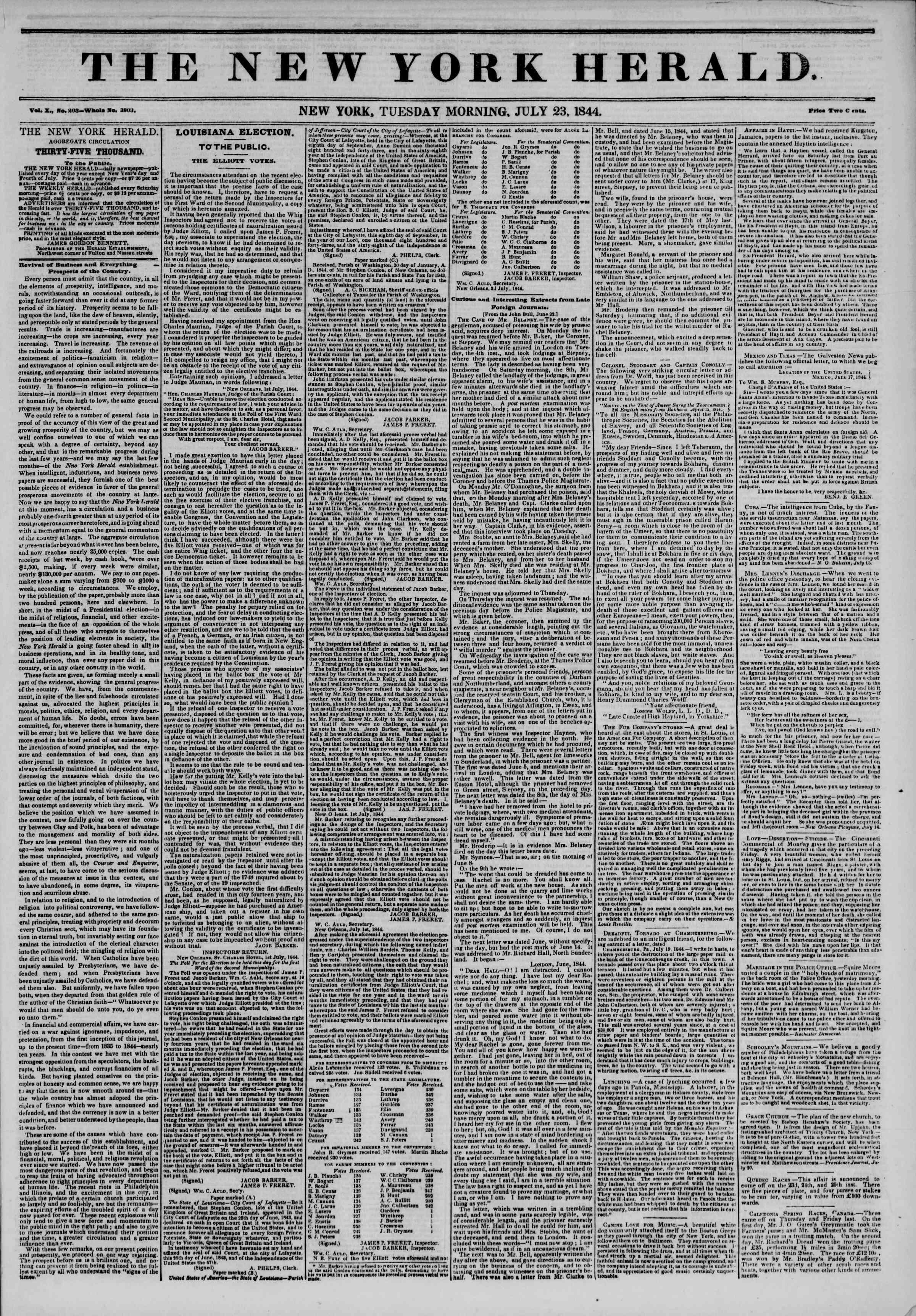 23 Temmuz 1844 tarihli The New York Herald Gazetesi Sayfa 1