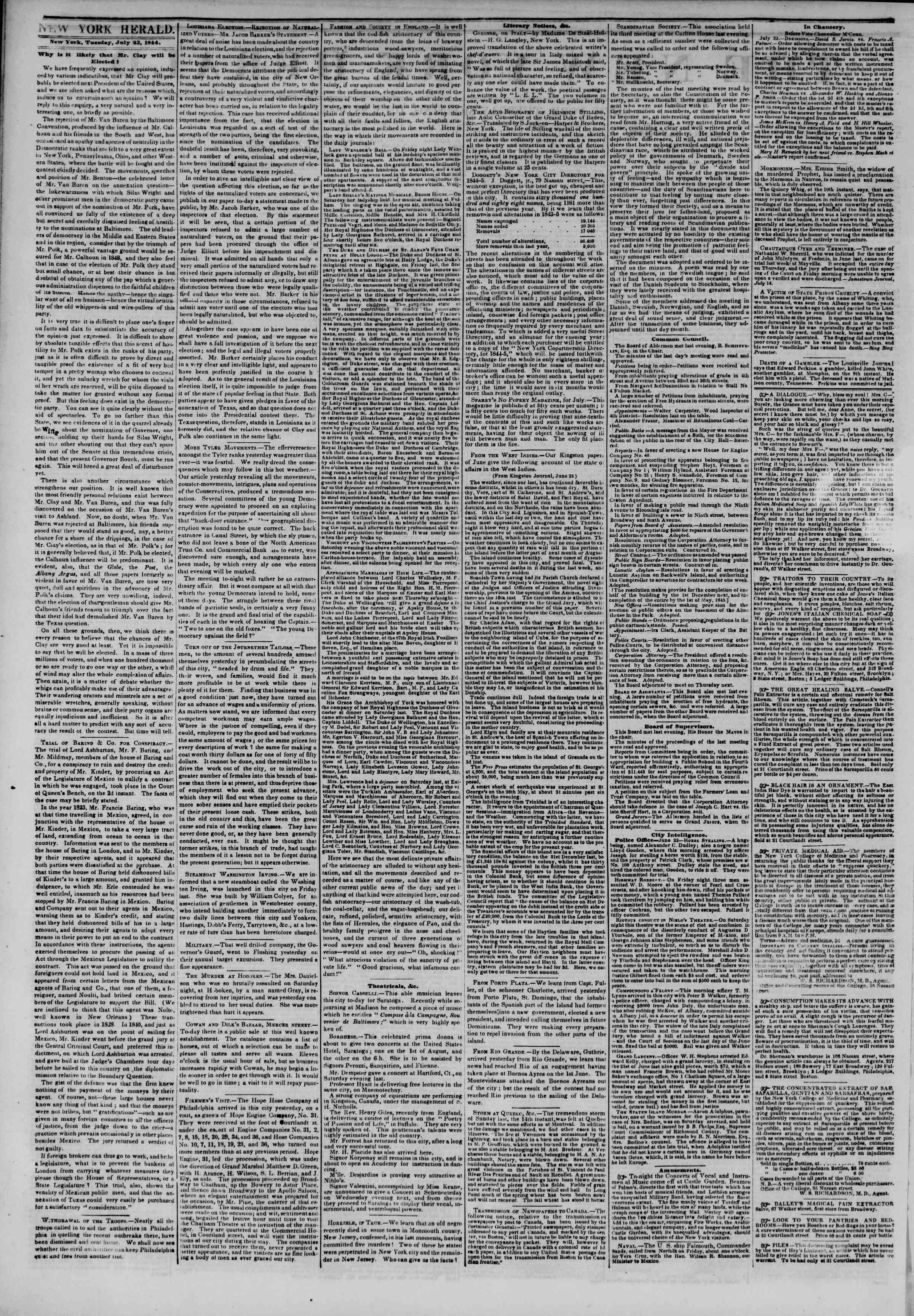 July 23, 1844 Tarihli The New York Herald Gazetesi Sayfa 2