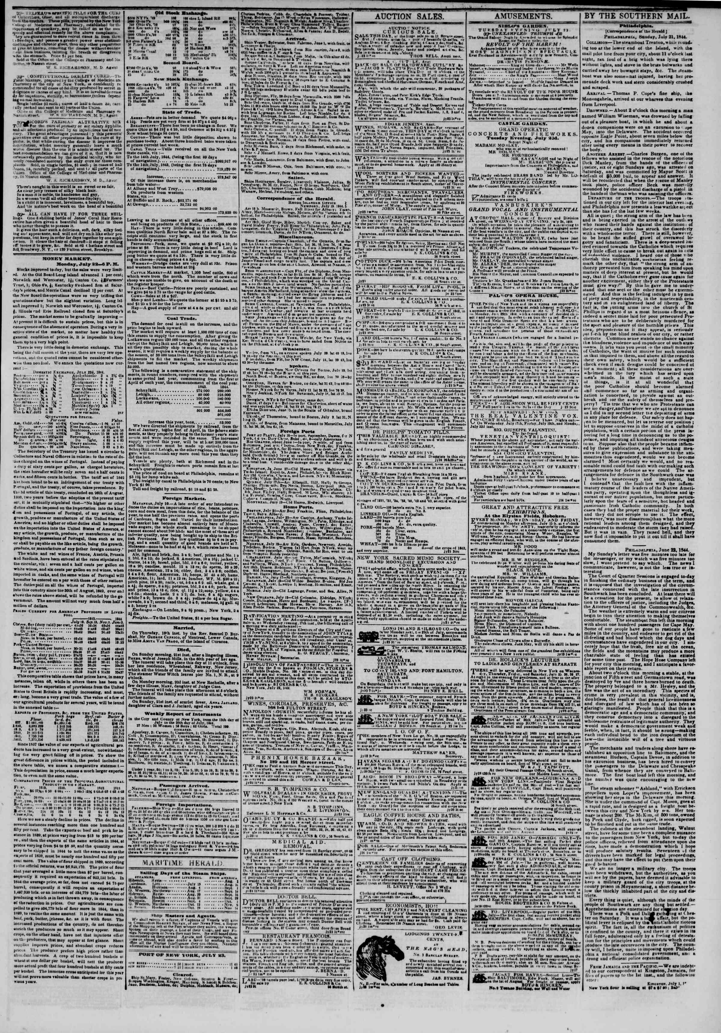 July 23, 1844 Tarihli The New York Herald Gazetesi Sayfa 3