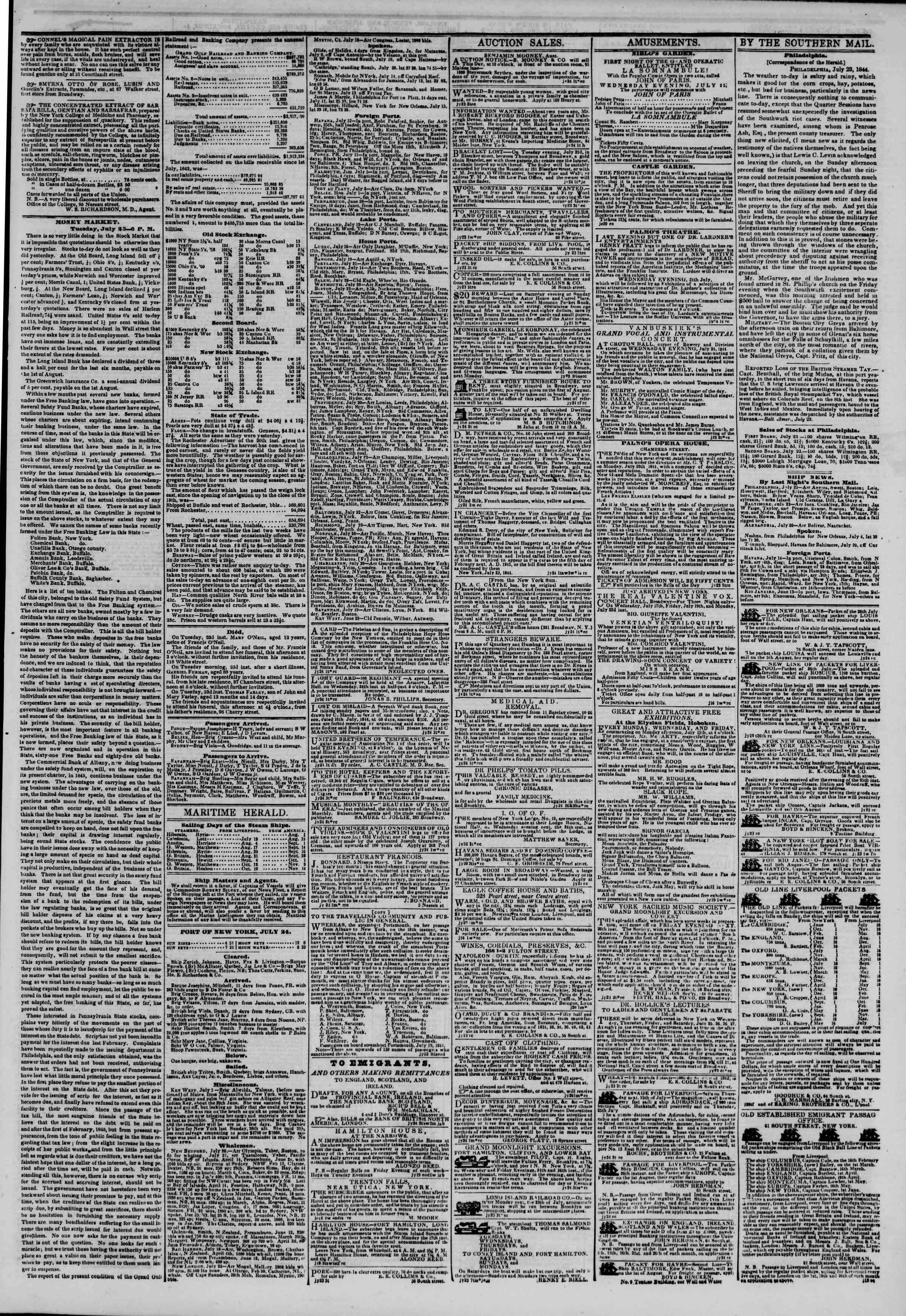 Newspaper of The New York Herald dated July 24, 1844 Page 3
