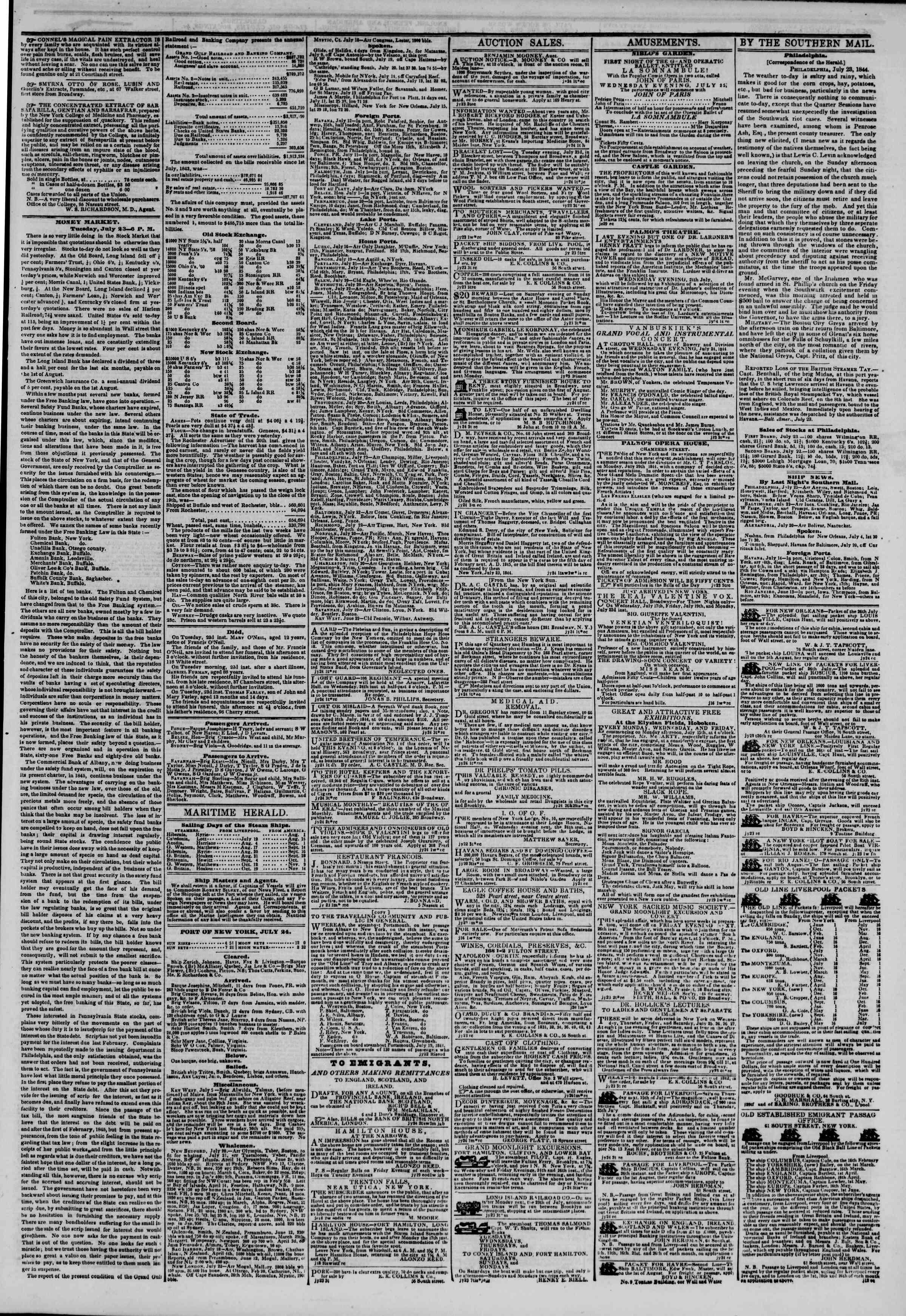 July 24, 1844 Tarihli The New York Herald Gazetesi Sayfa 3