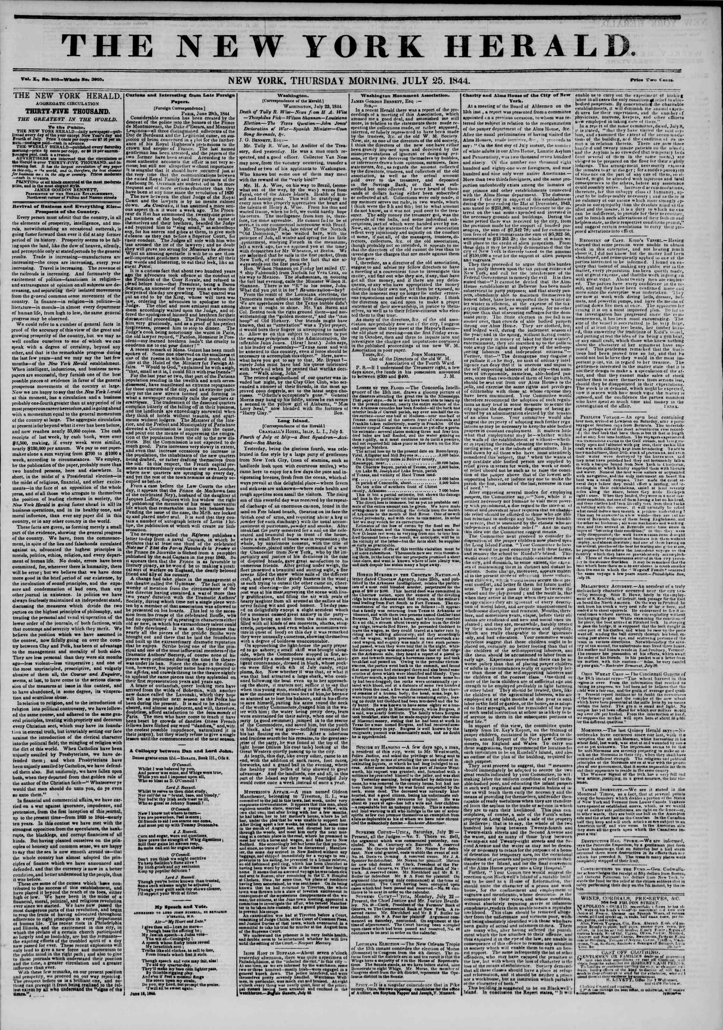 July 25, 1844 Tarihli The New York Herald Gazetesi Sayfa 1