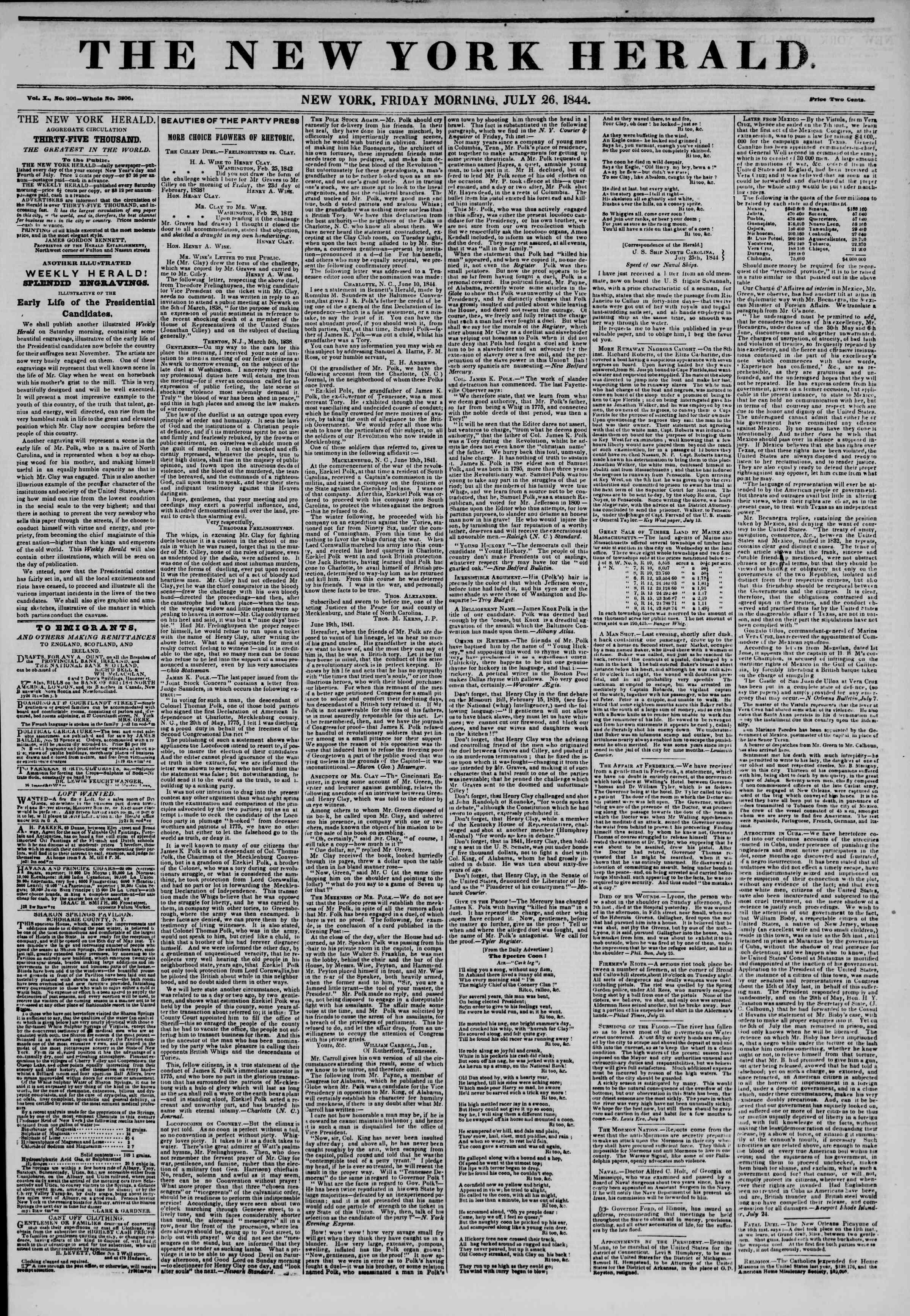 July 26, 1844 Tarihli The New York Herald Gazetesi Sayfa 1