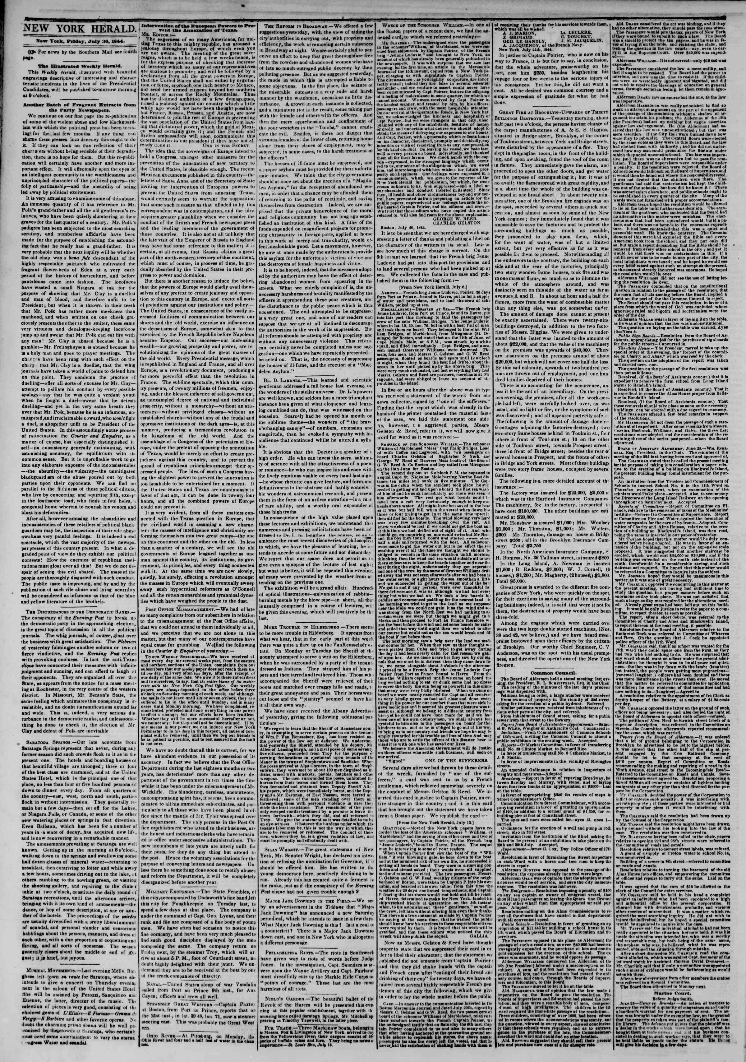 July 26, 1844 Tarihli The New York Herald Gazetesi Sayfa 2