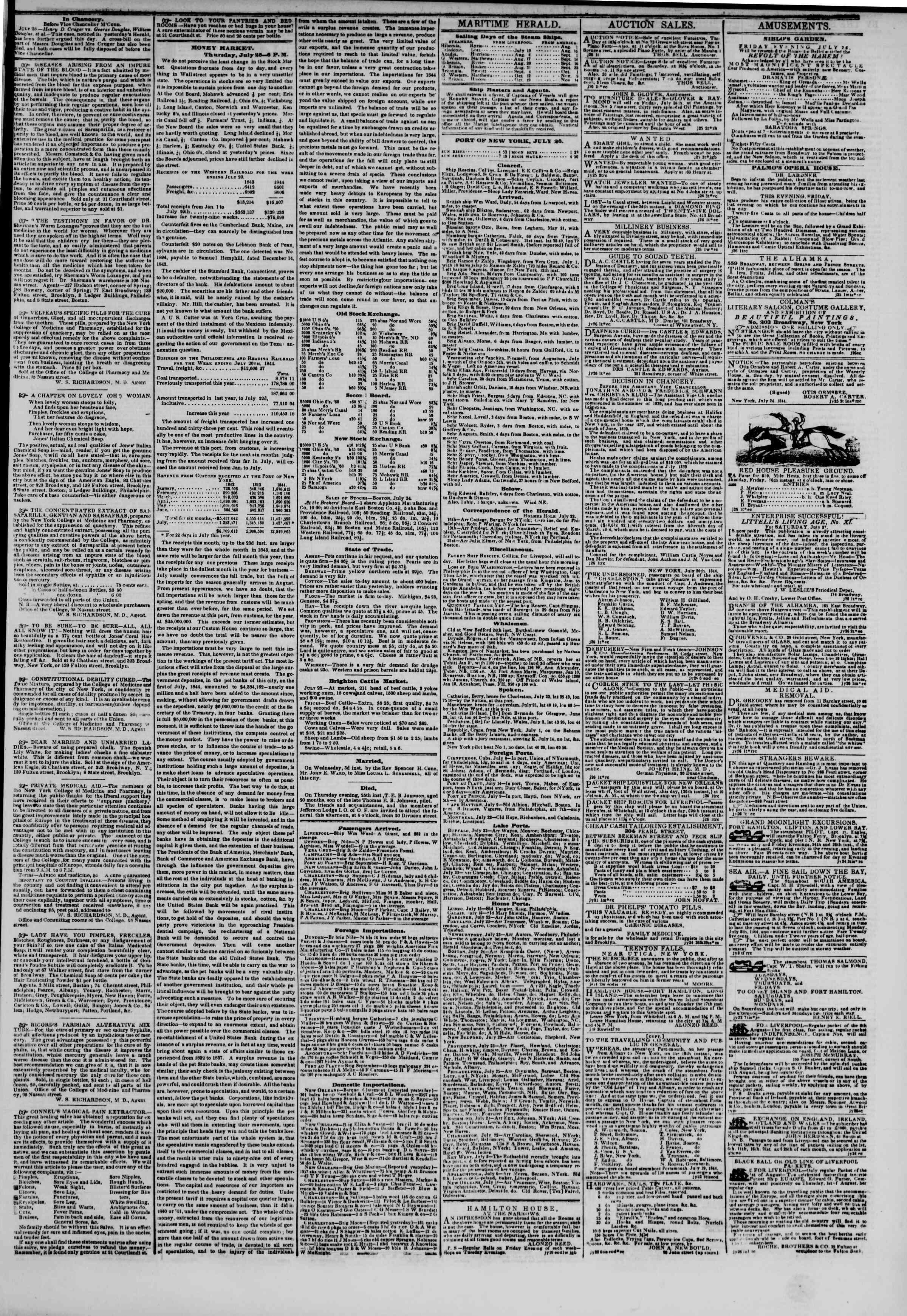 July 26, 1844 Tarihli The New York Herald Gazetesi Sayfa 3