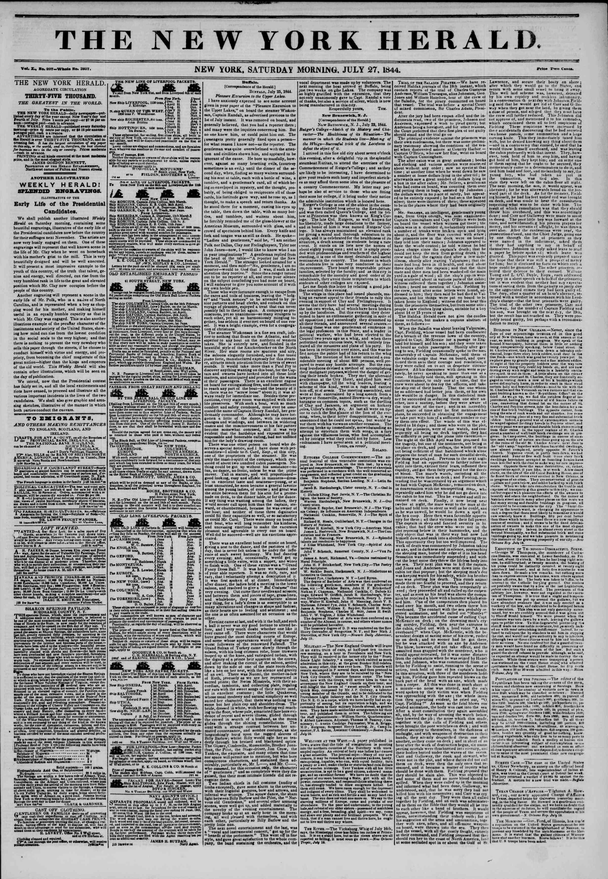 July 27, 1844 Tarihli The New York Herald Gazetesi Sayfa 1