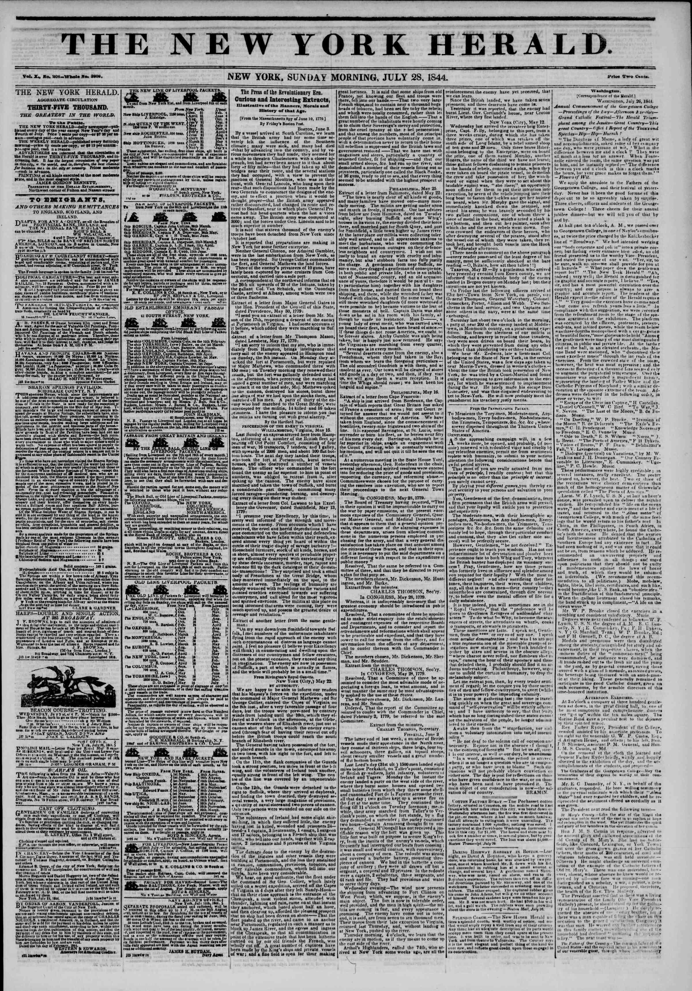 July 28, 1844 Tarihli The New York Herald Gazetesi Sayfa 1