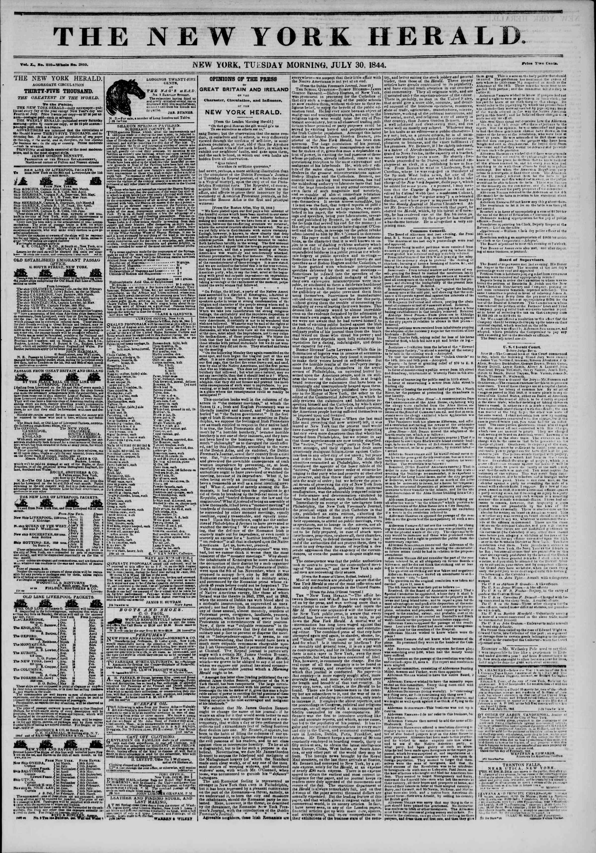Newspaper of The New York Herald dated July 30, 1844 Page 1