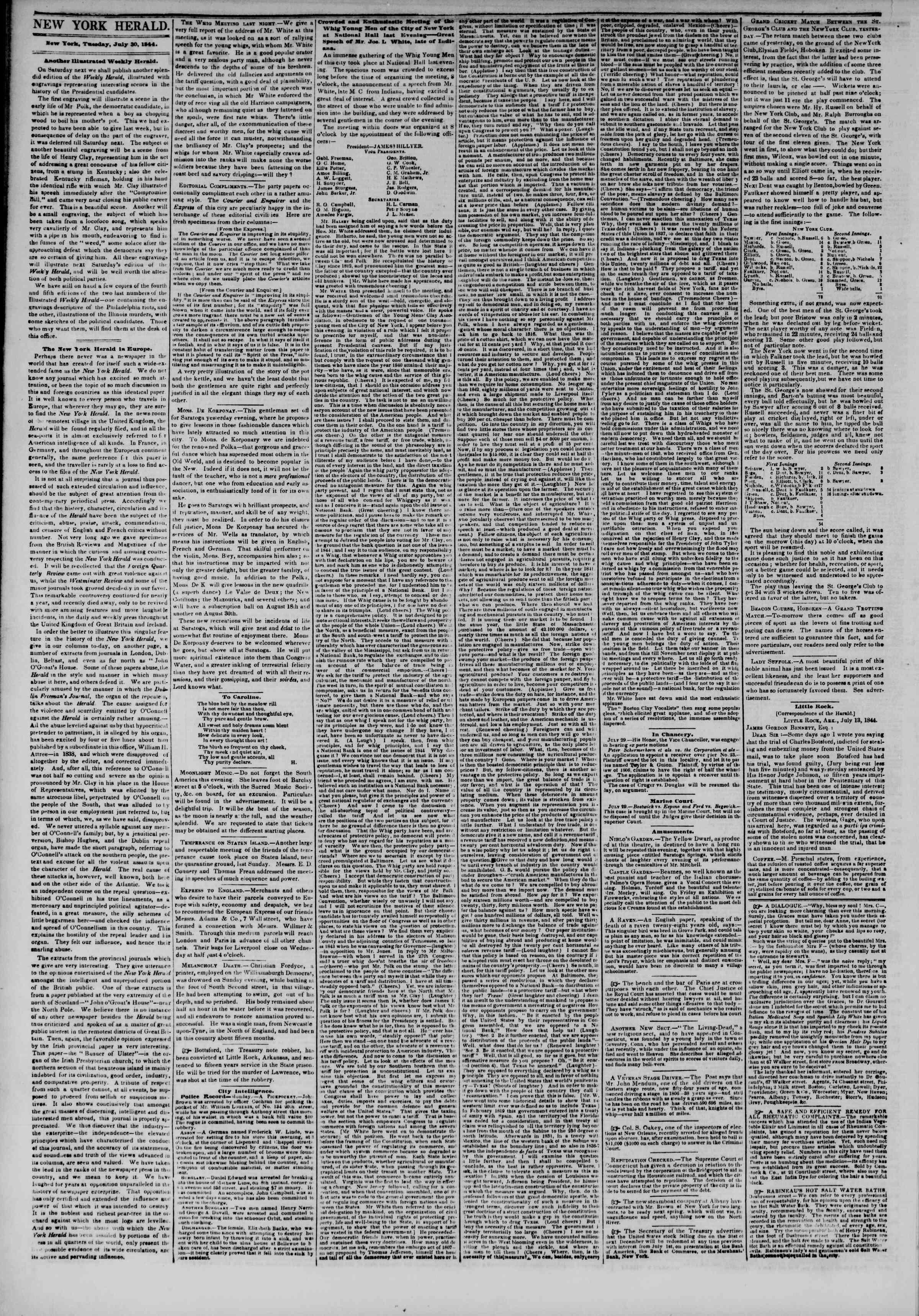 30 Temmuz 1844 Tarihli The New York Herald Gazetesi Sayfa 2