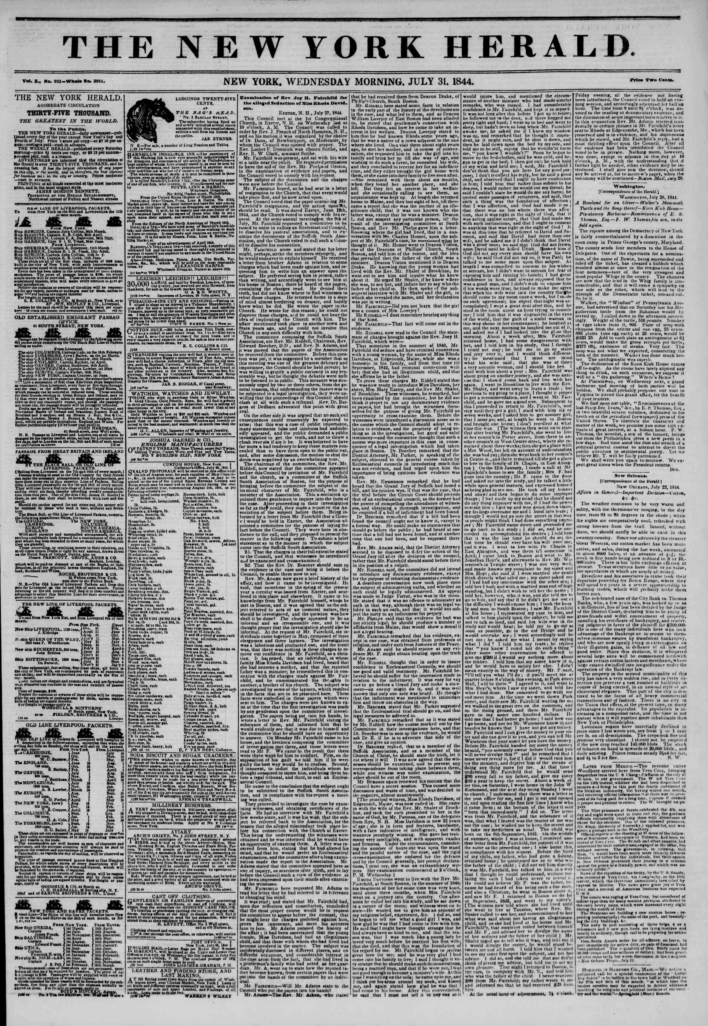 Newspaper of The New York Herald dated July 31, 1844 Page 1