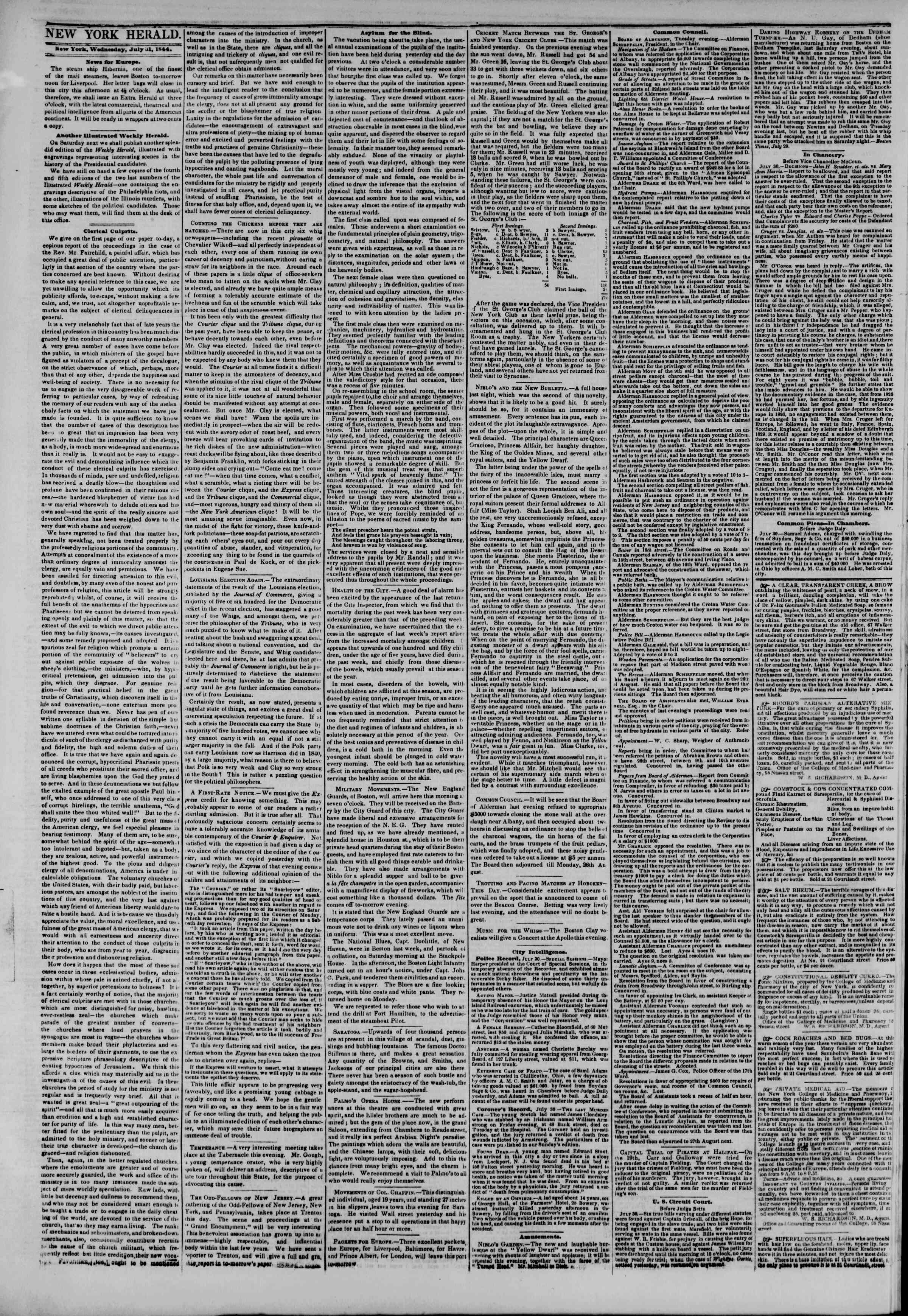 Newspaper of The New York Herald dated July 31, 1844 Page 2