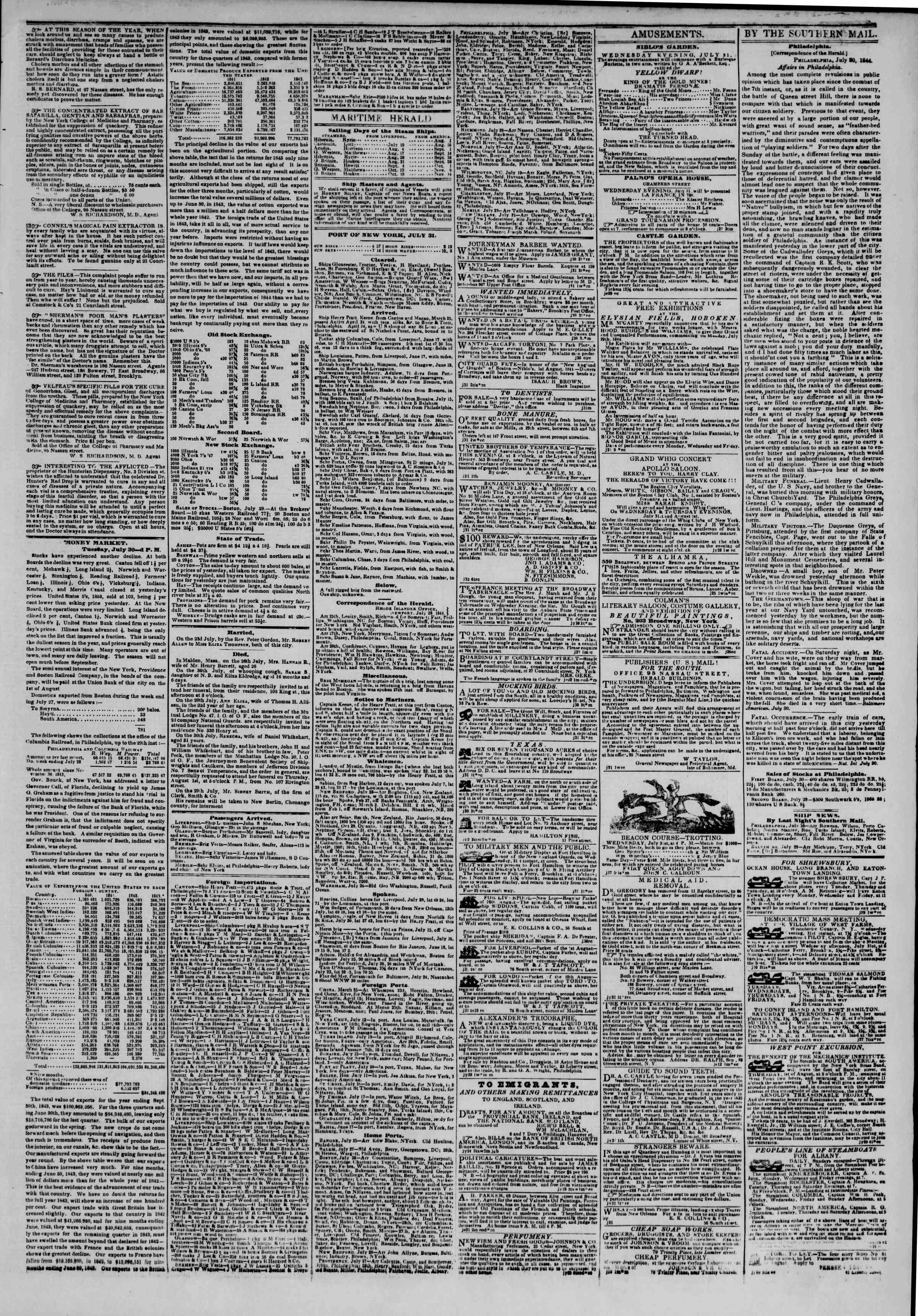 July 31, 1844 Tarihli The New York Herald Gazetesi Sayfa 3