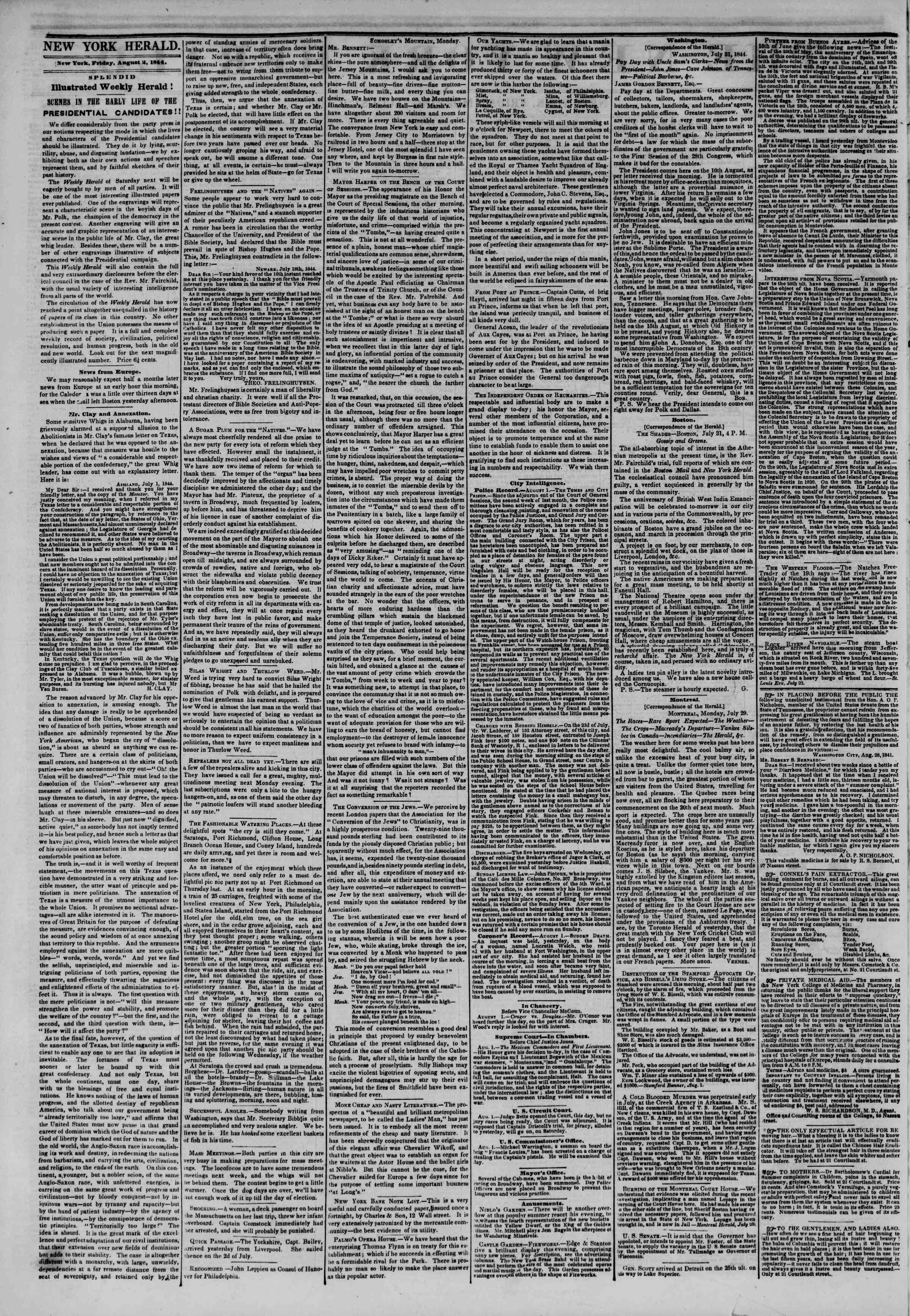 Newspaper of The New York Herald dated August 2, 1844 Page 2