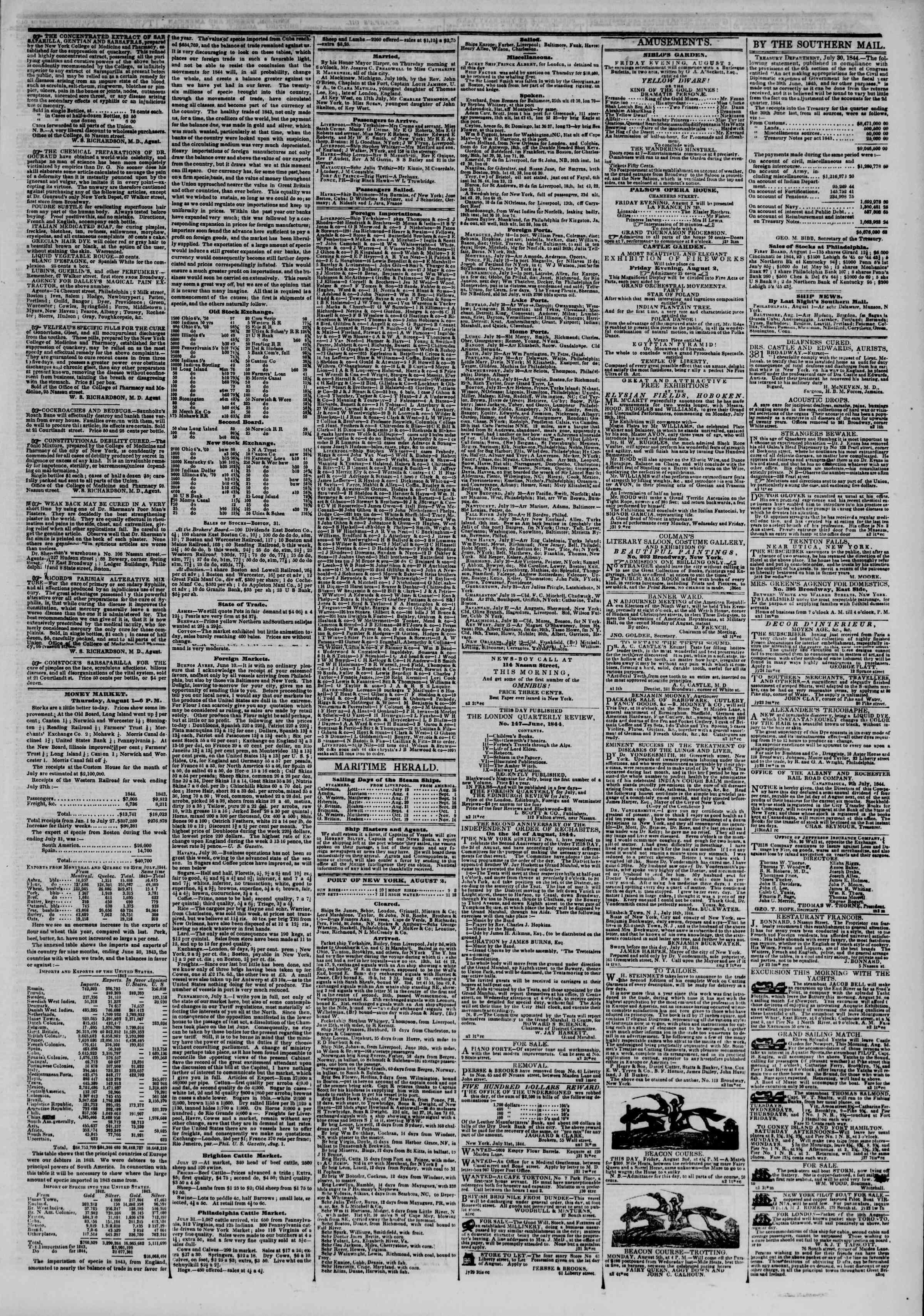 August 2, 1844 Tarihli The New York Herald Gazetesi Sayfa 3