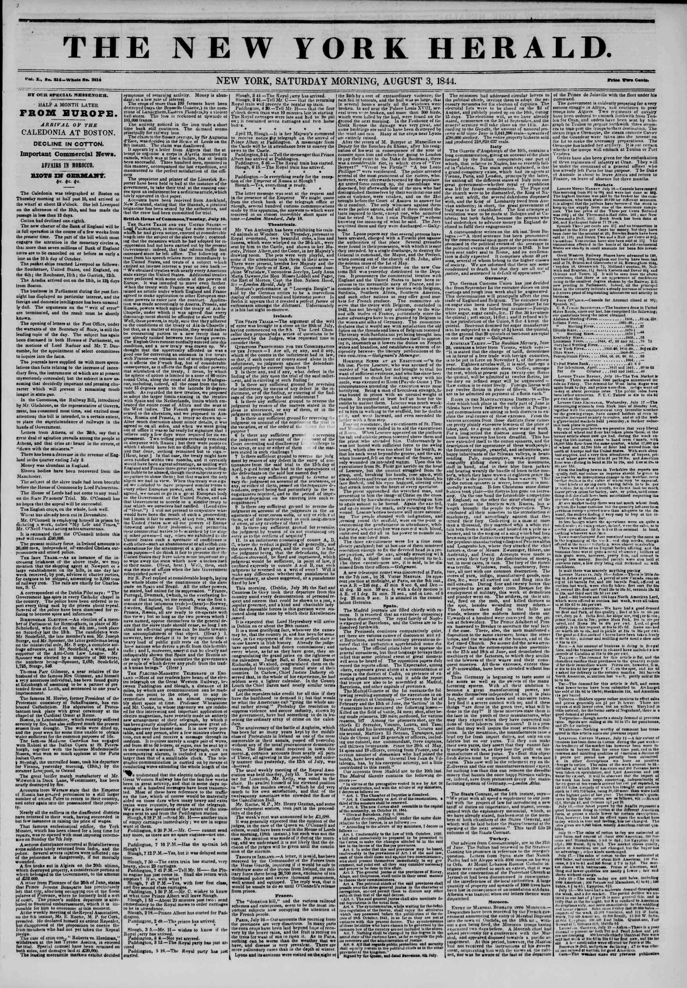 August 3, 1844 Tarihli The New York Herald Gazetesi Sayfa 1