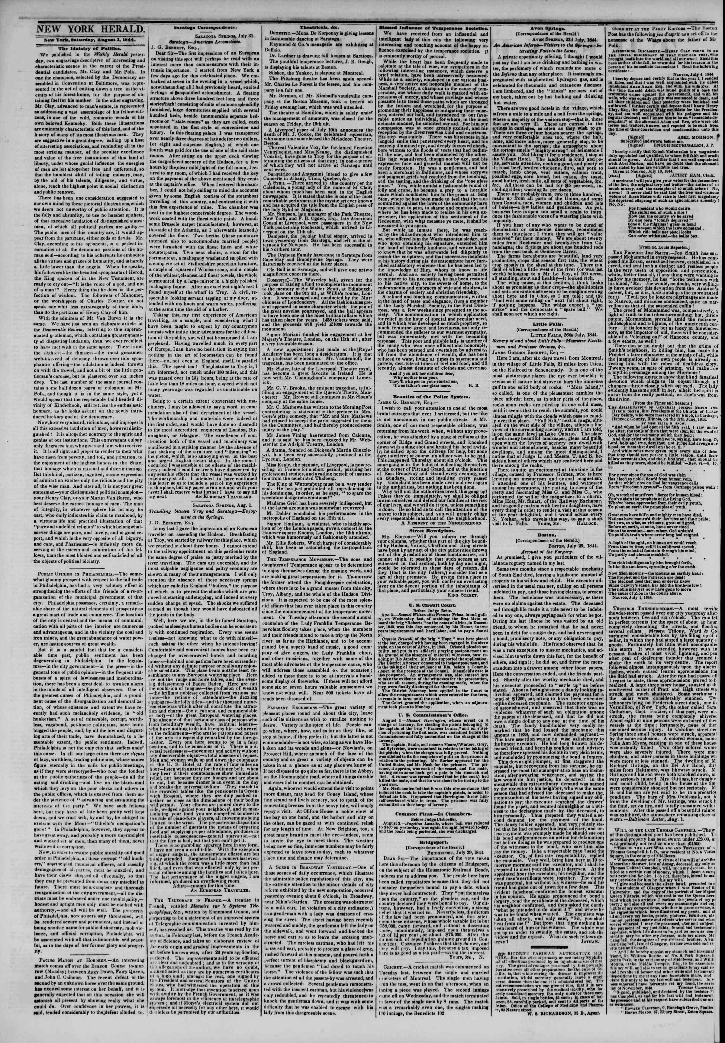 August 4, 1844 Tarihli The New York Herald Gazetesi Sayfa 2