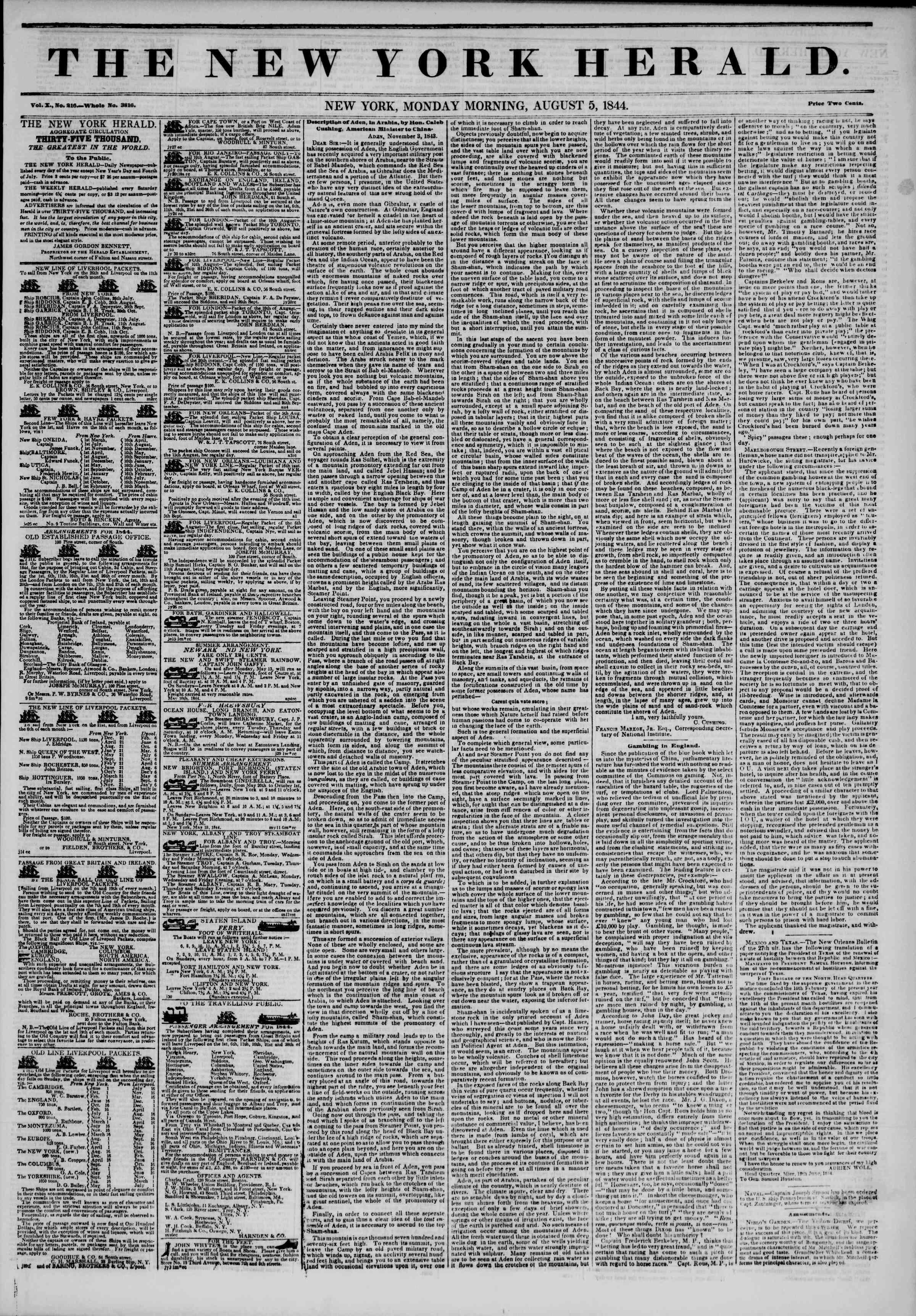 August 5, 1844 Tarihli The New York Herald Gazetesi Sayfa 1