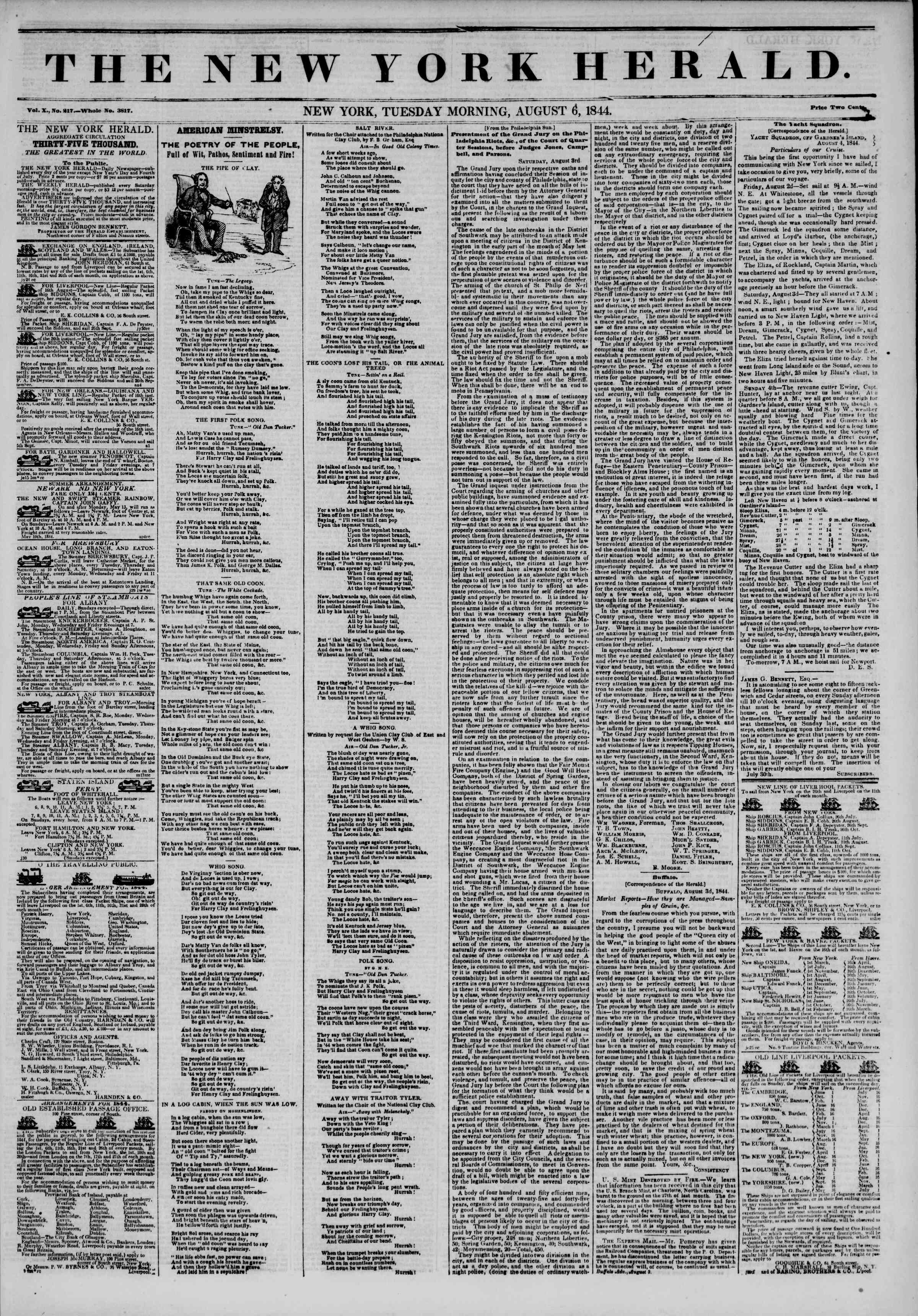Newspaper of The New York Herald dated August 6, 1844 Page 1