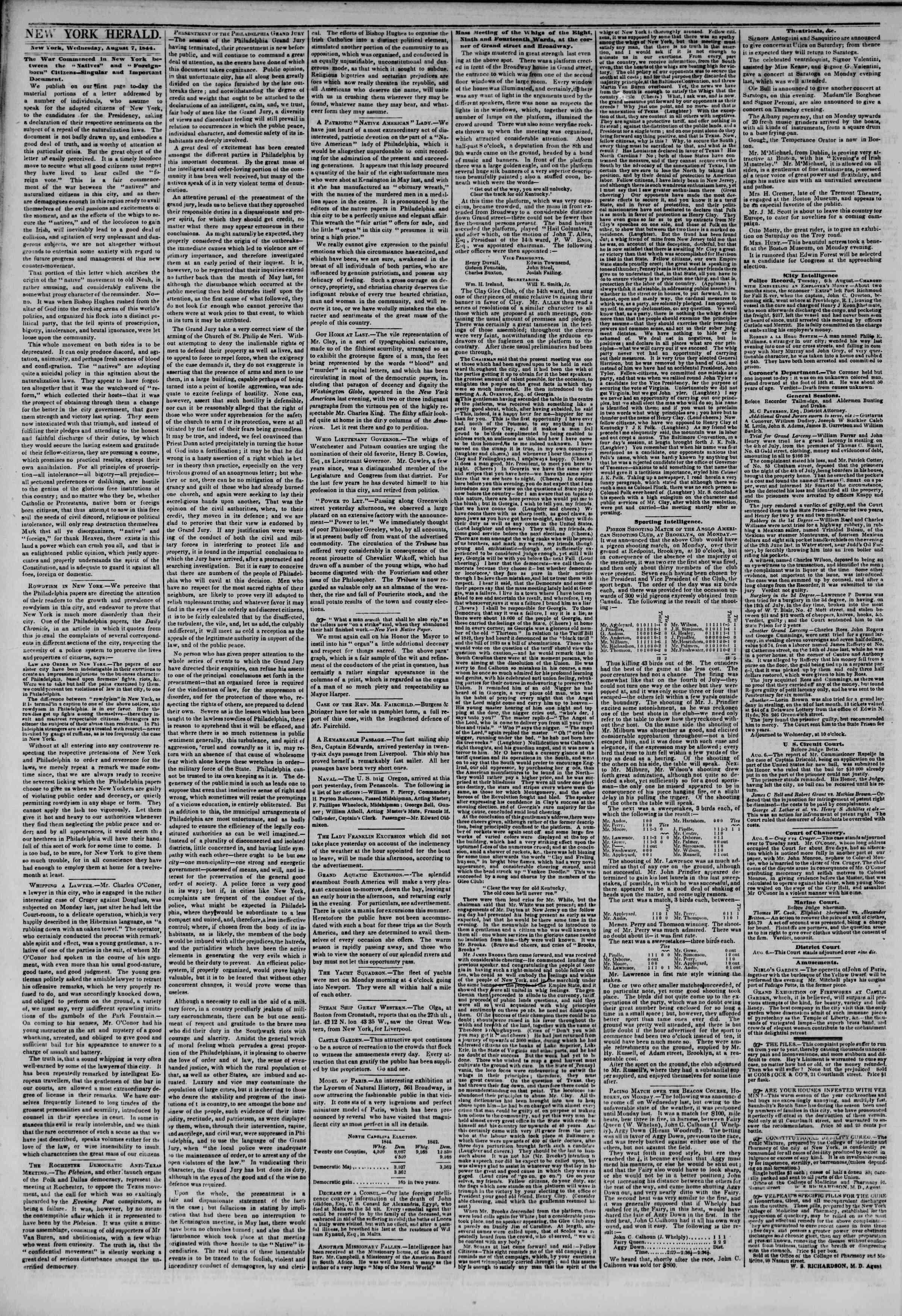 August 7, 1844 Tarihli The New York Herald Gazetesi Sayfa 2