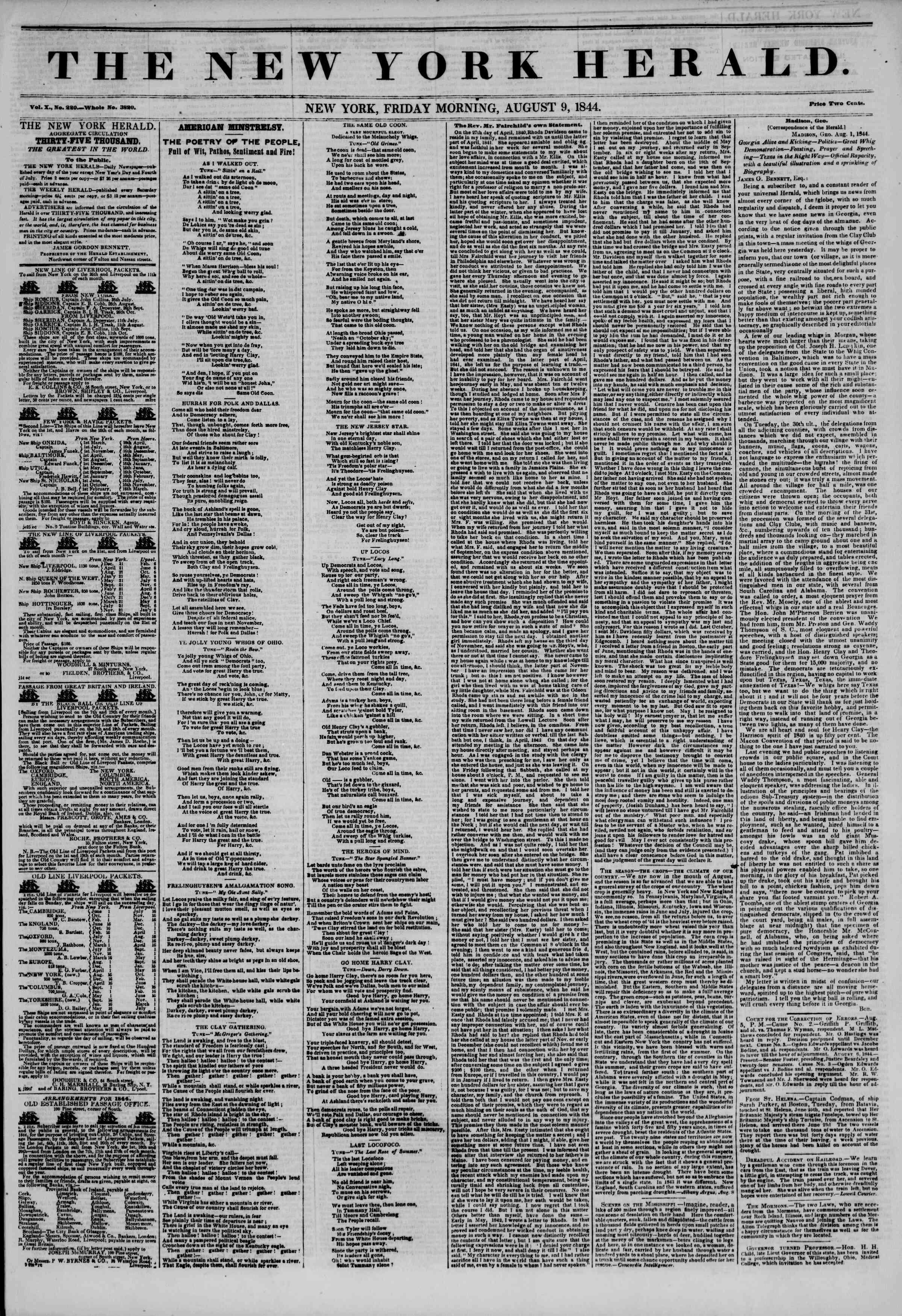 August 9, 1844 Tarihli The New York Herald Gazetesi Sayfa 1