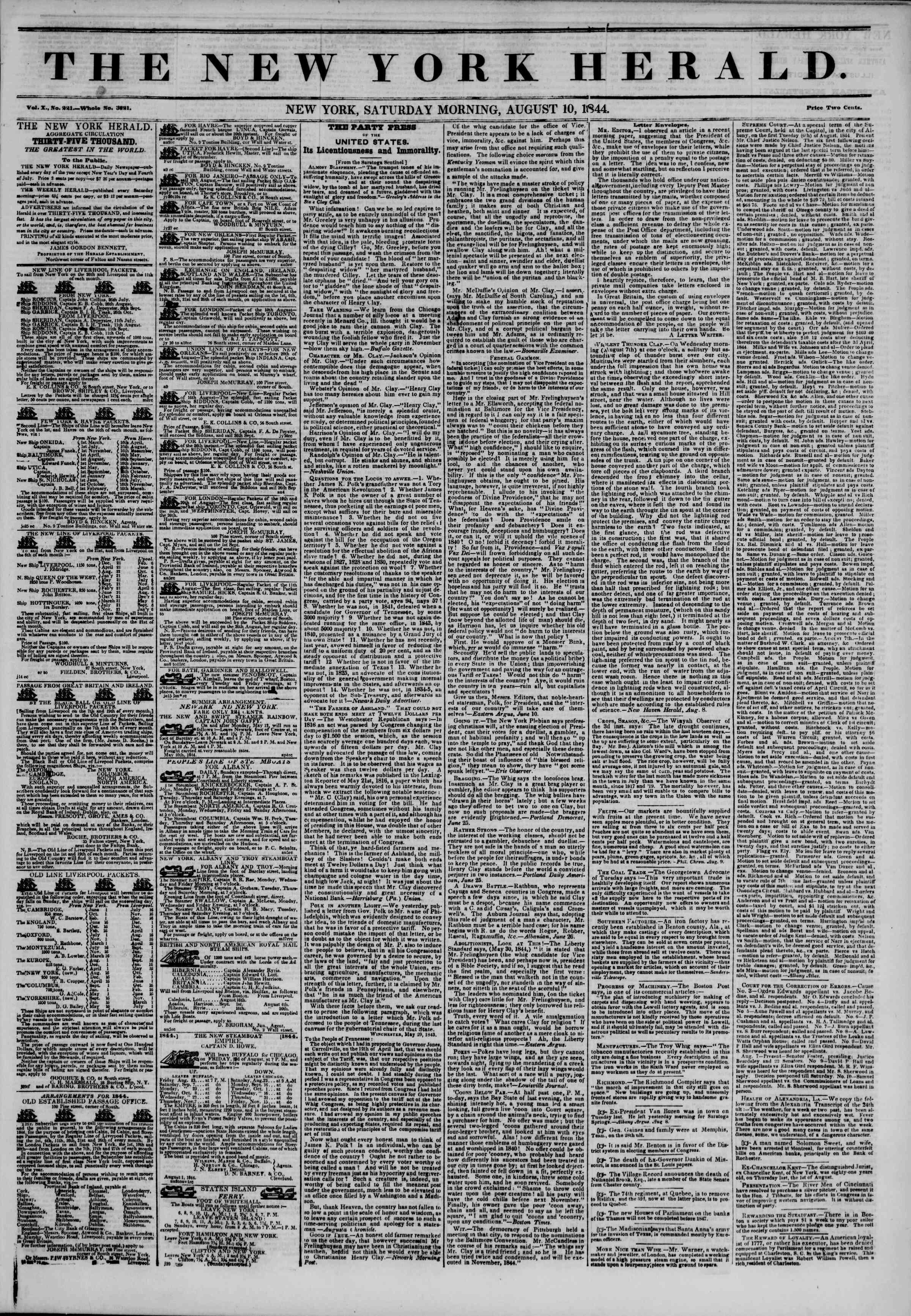 August 10, 1844 Tarihli The New York Herald Gazetesi Sayfa 1