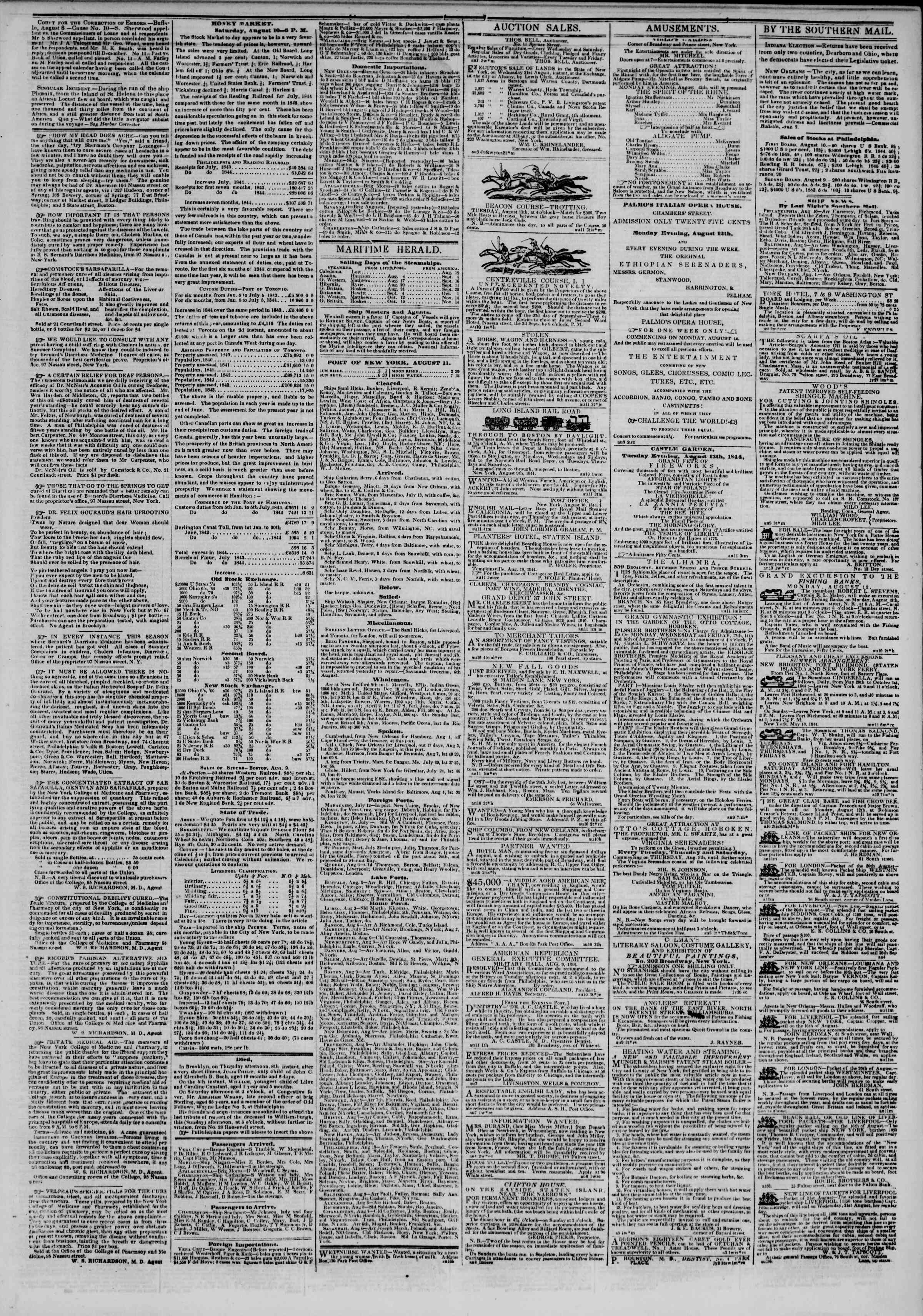 August 11, 1844 Tarihli The New York Herald Gazetesi Sayfa 3