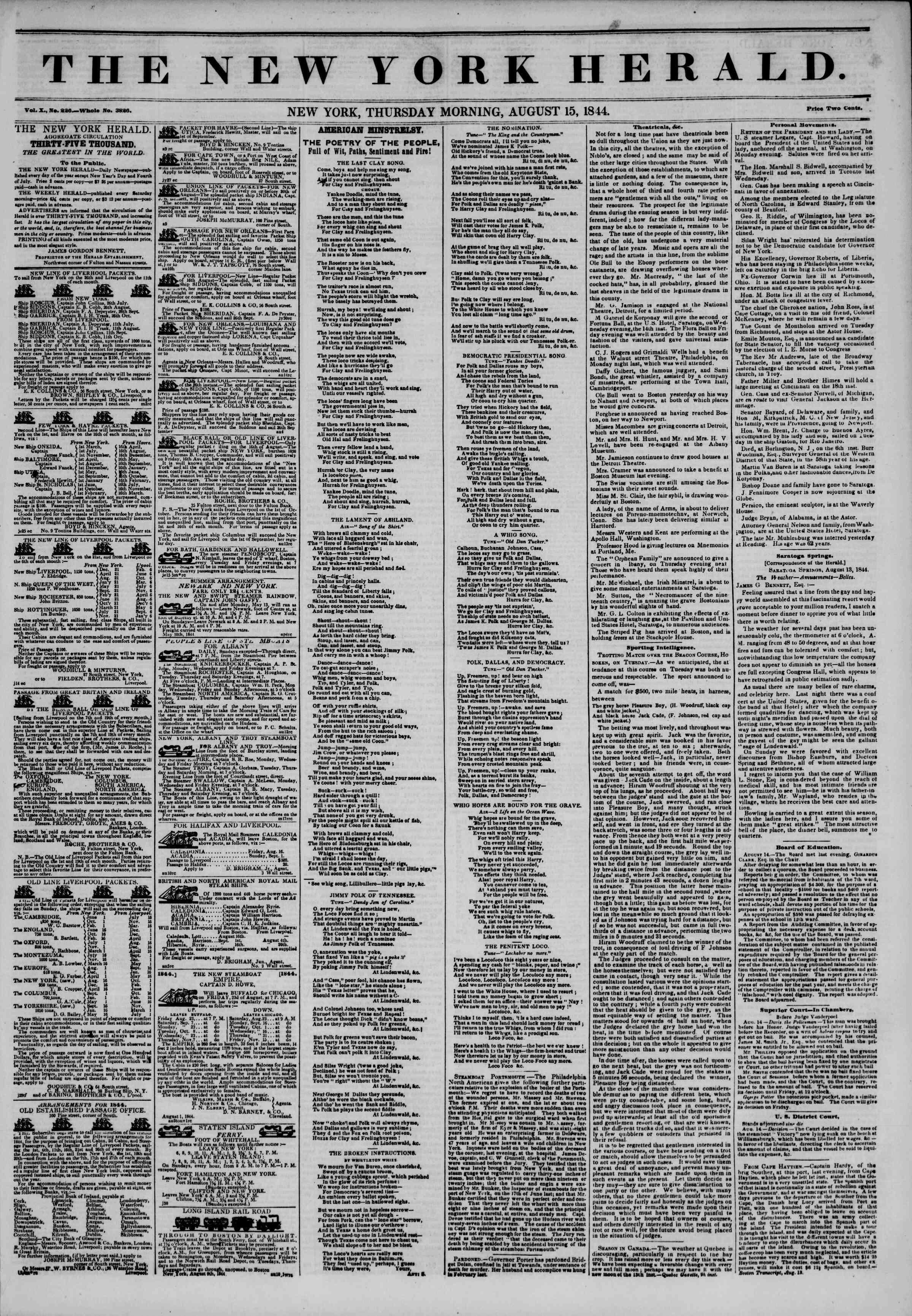 August 15, 1844 Tarihli The New York Herald Gazetesi Sayfa 1