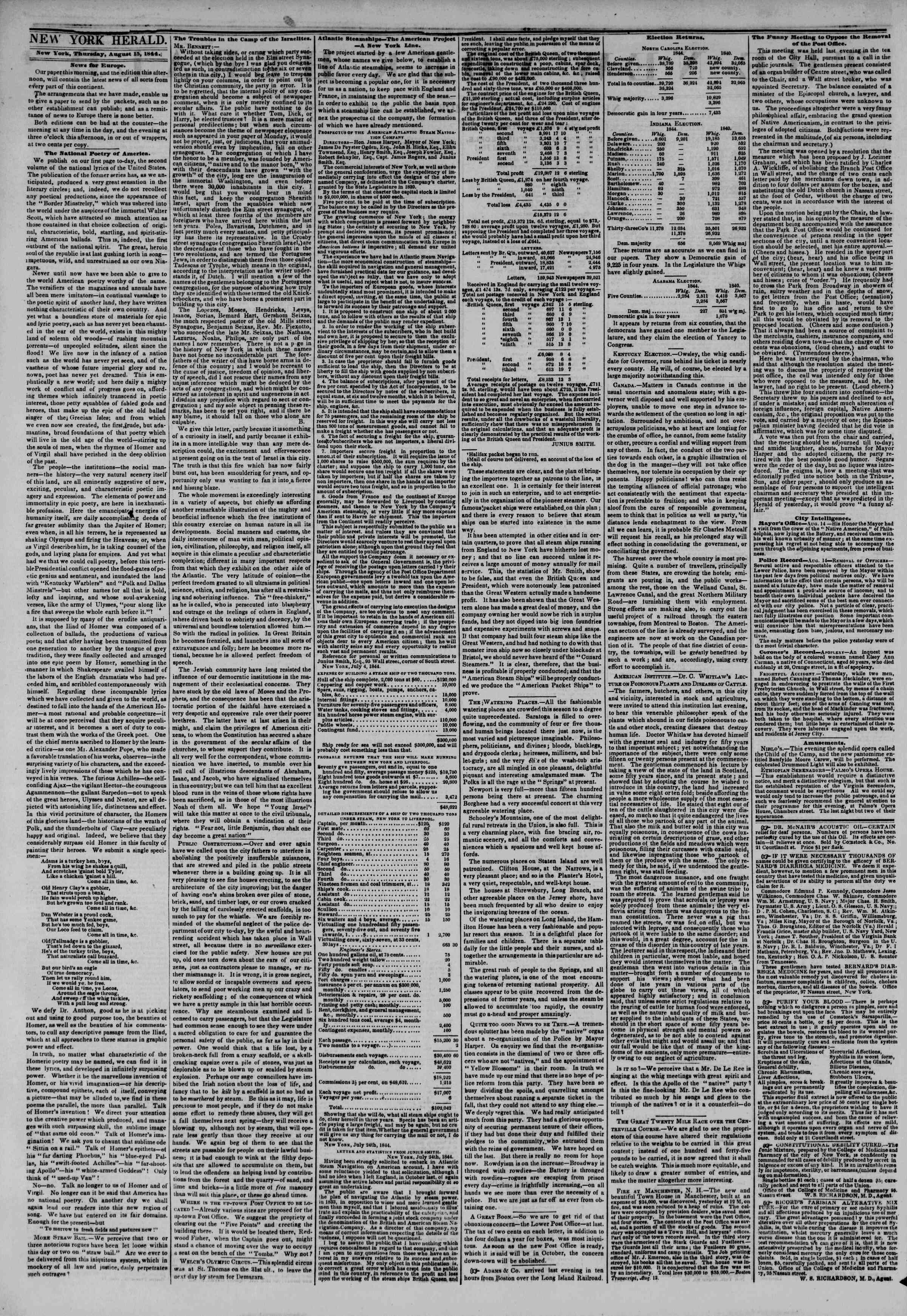Newspaper of The New York Herald dated August 15, 1844 Page 2