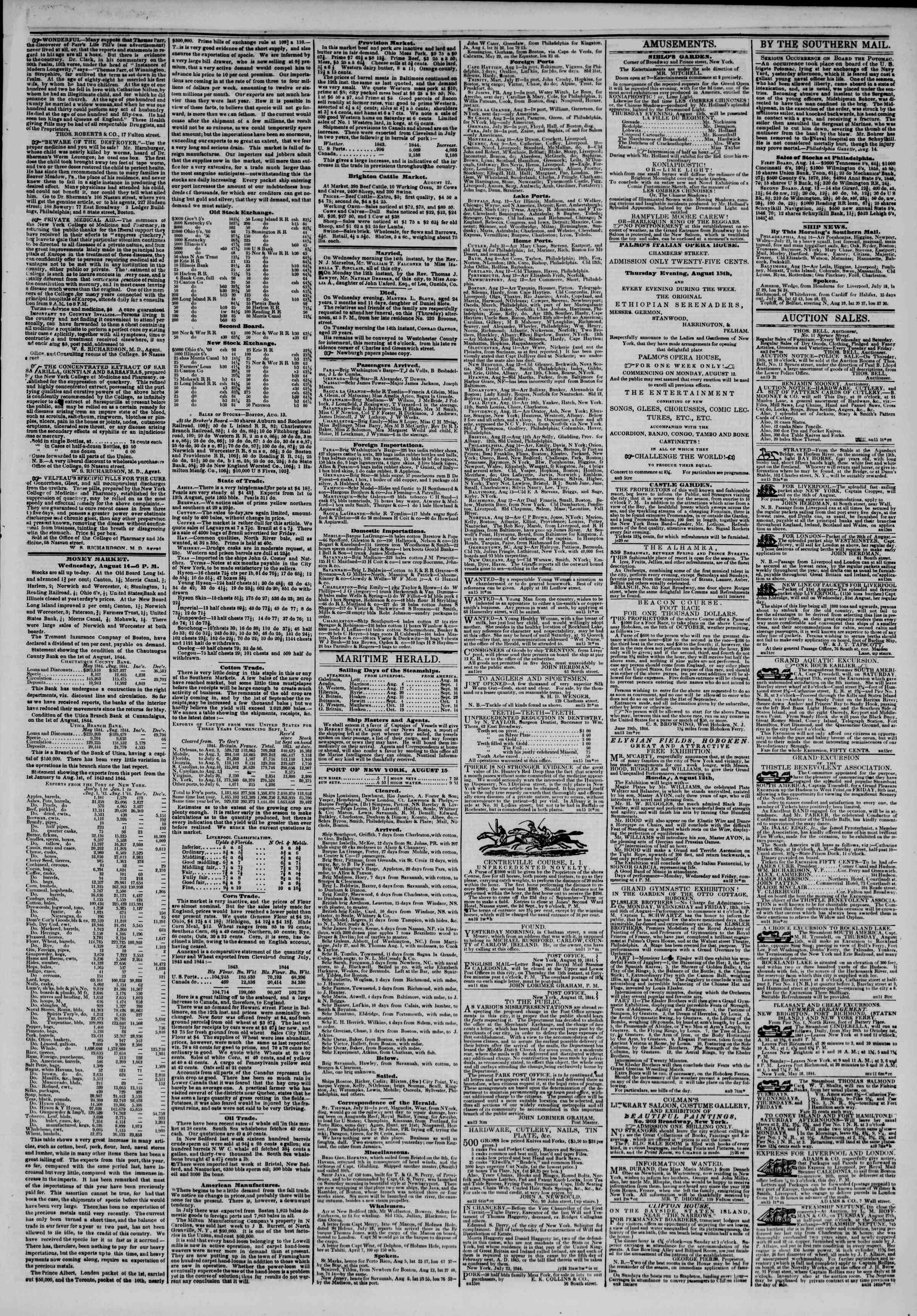 August 15, 1844 Tarihli The New York Herald Gazetesi Sayfa 3